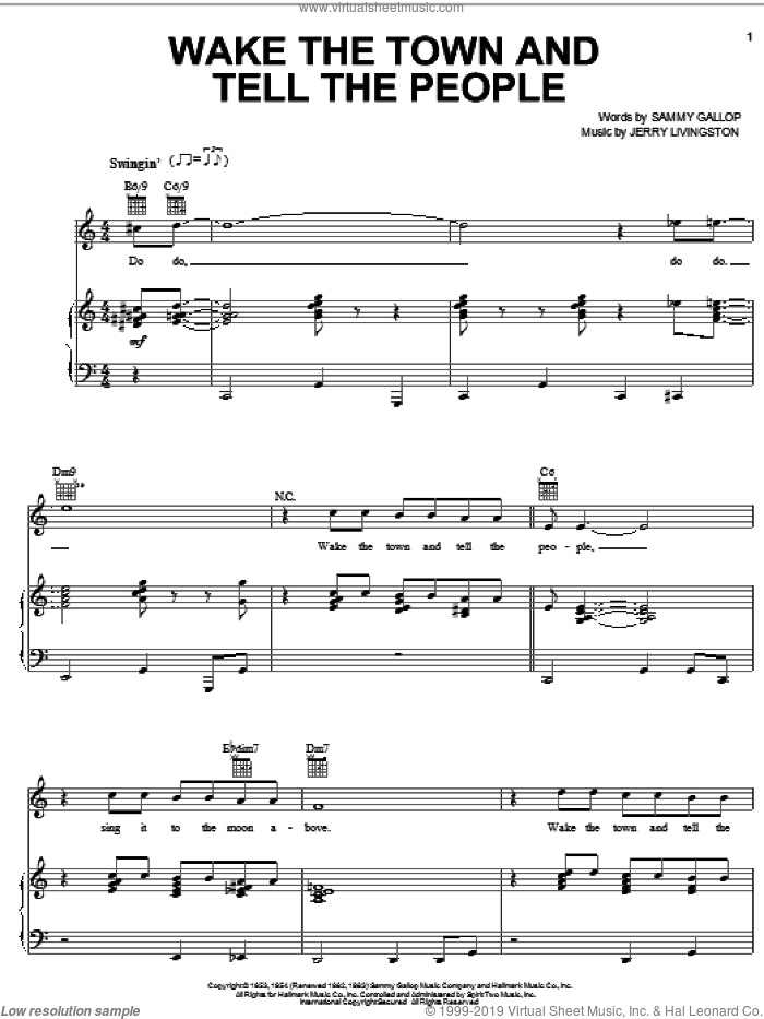 Wake The Town And Tell The People sheet music for voice, piano or guitar by Les Baxter, Jerry Livingston and Sammy Gallop, intermediate. Score Image Preview.