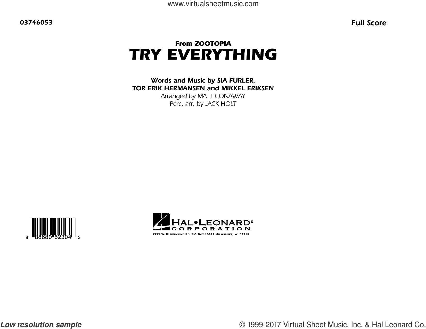 Try Everything (from Zootopia) (COMPLETE) sheet music for marching band by Matt Conaway, Mikkel Eriksen, Shakira, Sia Furler and Tor Erik Hermansen, intermediate skill level