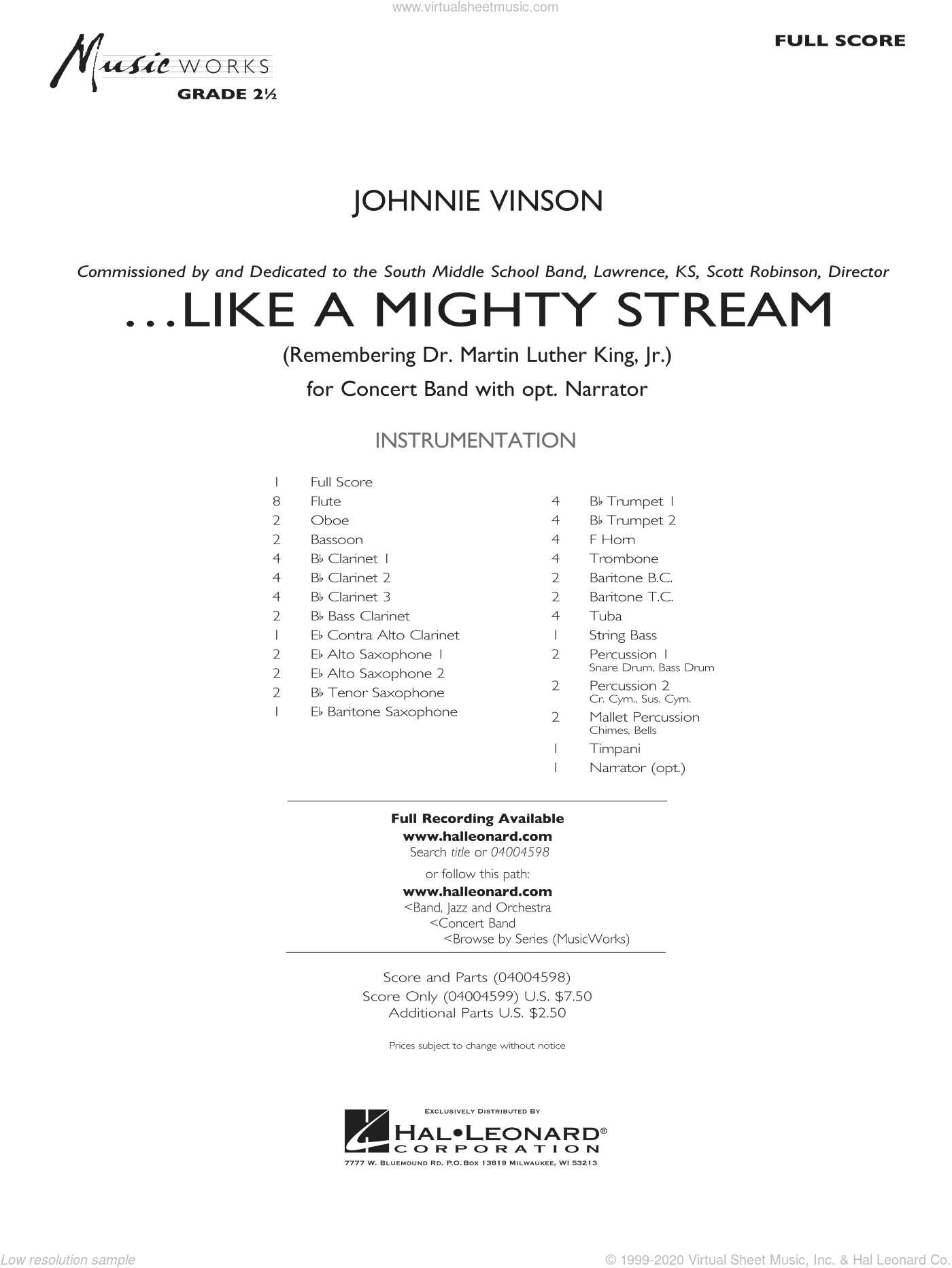 Like a Mighty Stream (for Concert Band and Narrator) sheet music for concert band (full score) by Johnnie Vinson