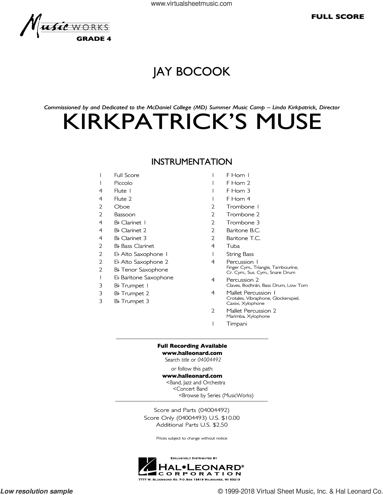 Kirkpatrick's Muse (COMPLETE) sheet music for concert band by Jay Bocook, intermediate