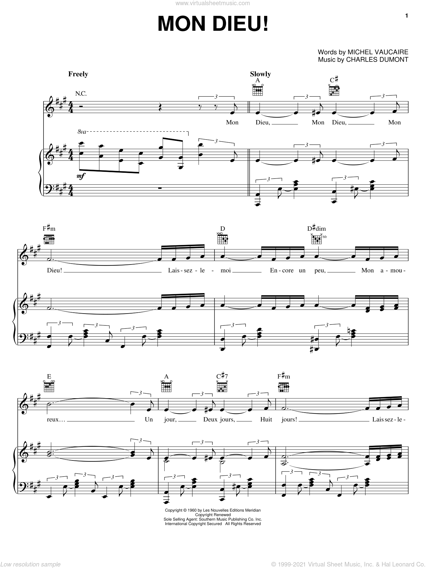 Mon Dieu! sheet music for voice, piano or guitar by Edith Piaf, Charles Dumont and Michel Vaucaire, intermediate skill level