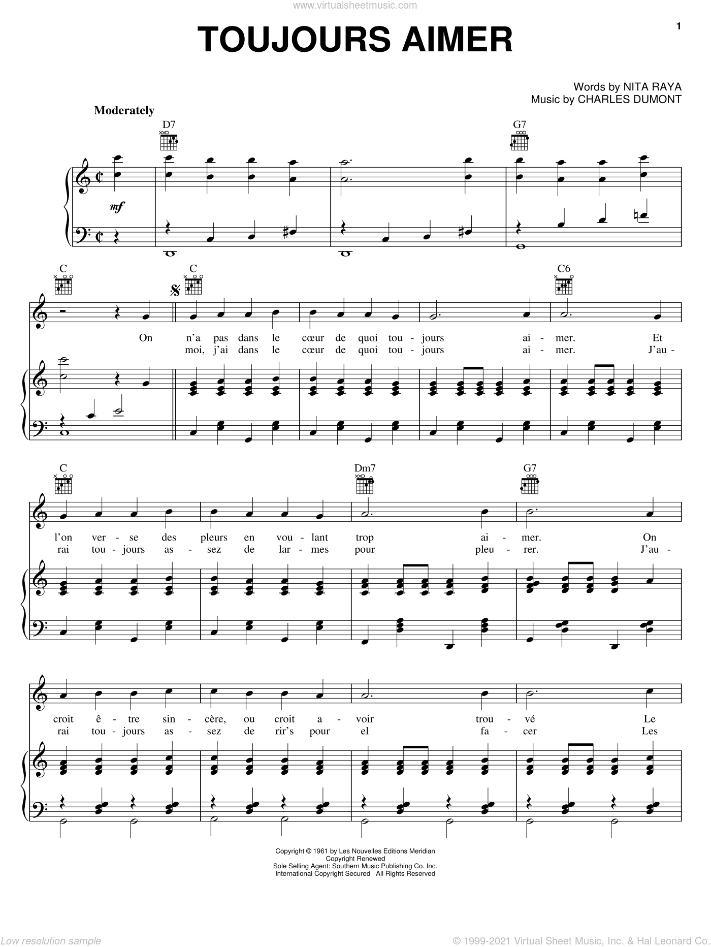 Toujours Aimer sheet music for voice, piano or guitar by Nita Raya, Edith Piaf and Charles Dumont. Score Image Preview.