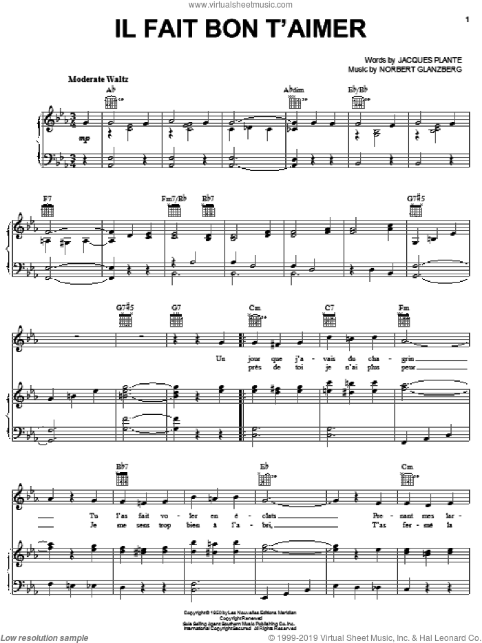 Il Fait Bon T'aimer sheet music for voice, piano or guitar by Edith Piaf, intermediate voice, piano or guitar. Score Image Preview.