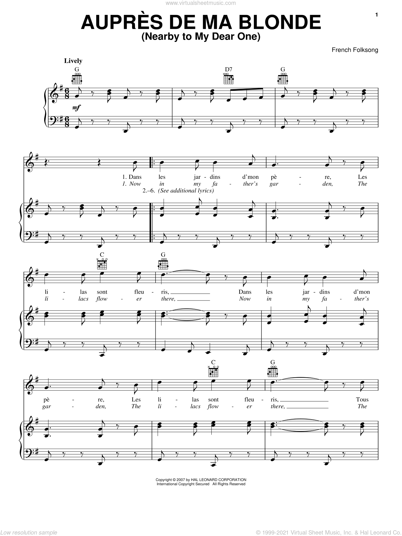 Aupres De Ma Blonde (Nearby To My Dear One) sheet music for voice, piano or guitar, classical score, intermediate skill level
