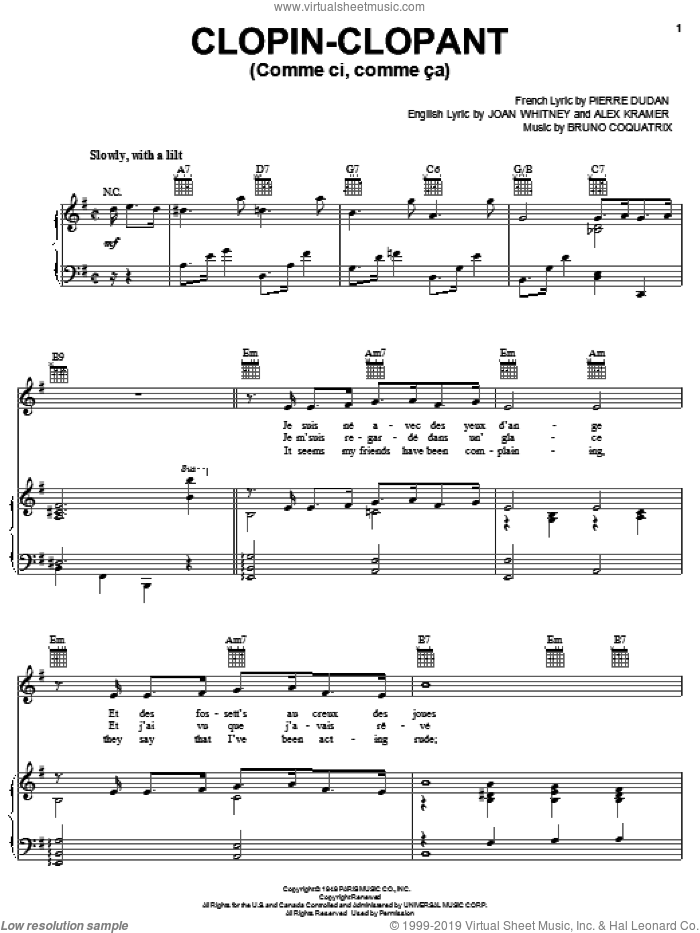 Comme Ci, Comme Ca sheet music for voice, piano or guitar by Frank Sinatra, Johnny Desmond, Tony Martin, Alex Kramer, Bruno Coquatrix, Joan Whitney and Pierre Dudan, intermediate skill level