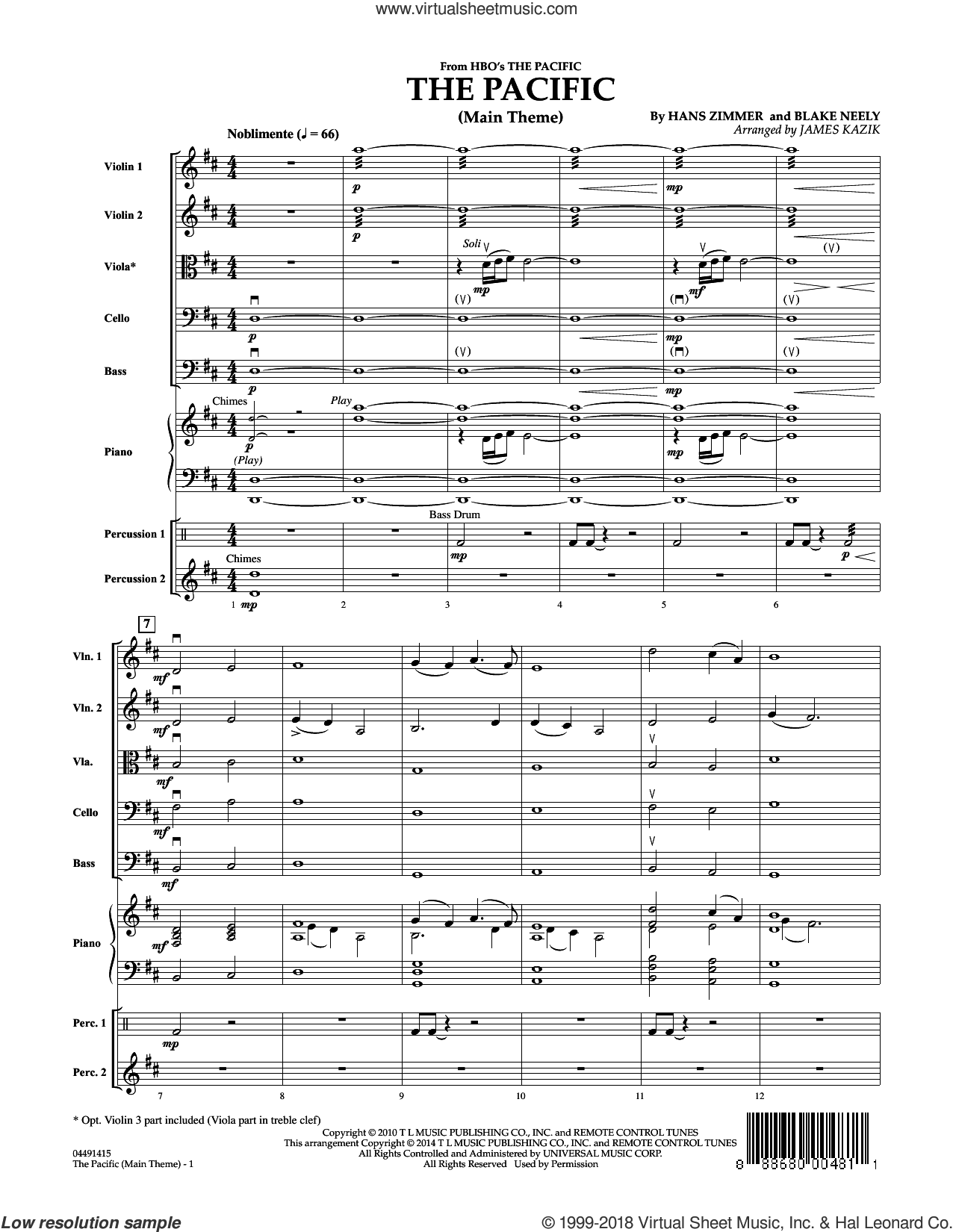 The Pacific (Main Title) (COMPLETE) sheet music for orchestra by Hans Zimmer, Blake Neely and James Kazik, intermediate. Score Image Preview.