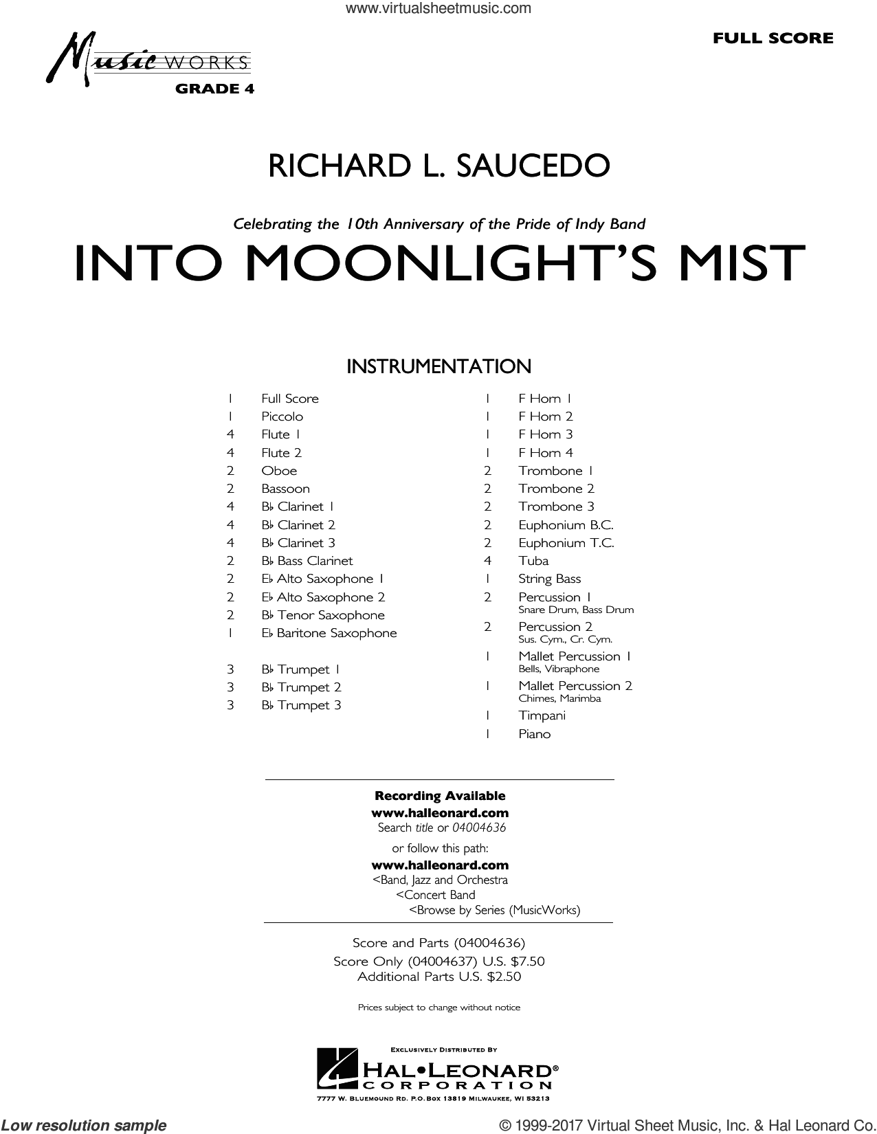 Into Moonlight's Mist (COMPLETE) sheet music for concert band by Richard L. Saucedo, intermediate. Score Image Preview.