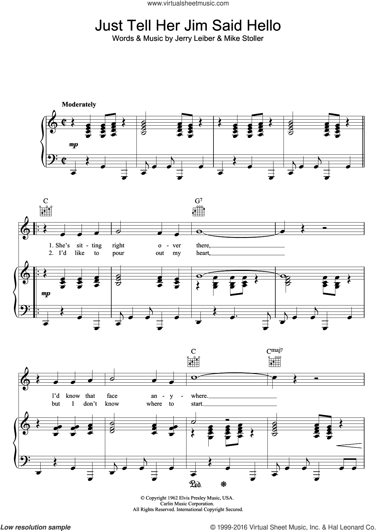 Just Tell Her Jim Said Hello sheet music for voice, piano or guitar by Elvis Presley and Mike Stoller, intermediate voice, piano or guitar. Score Image Preview.