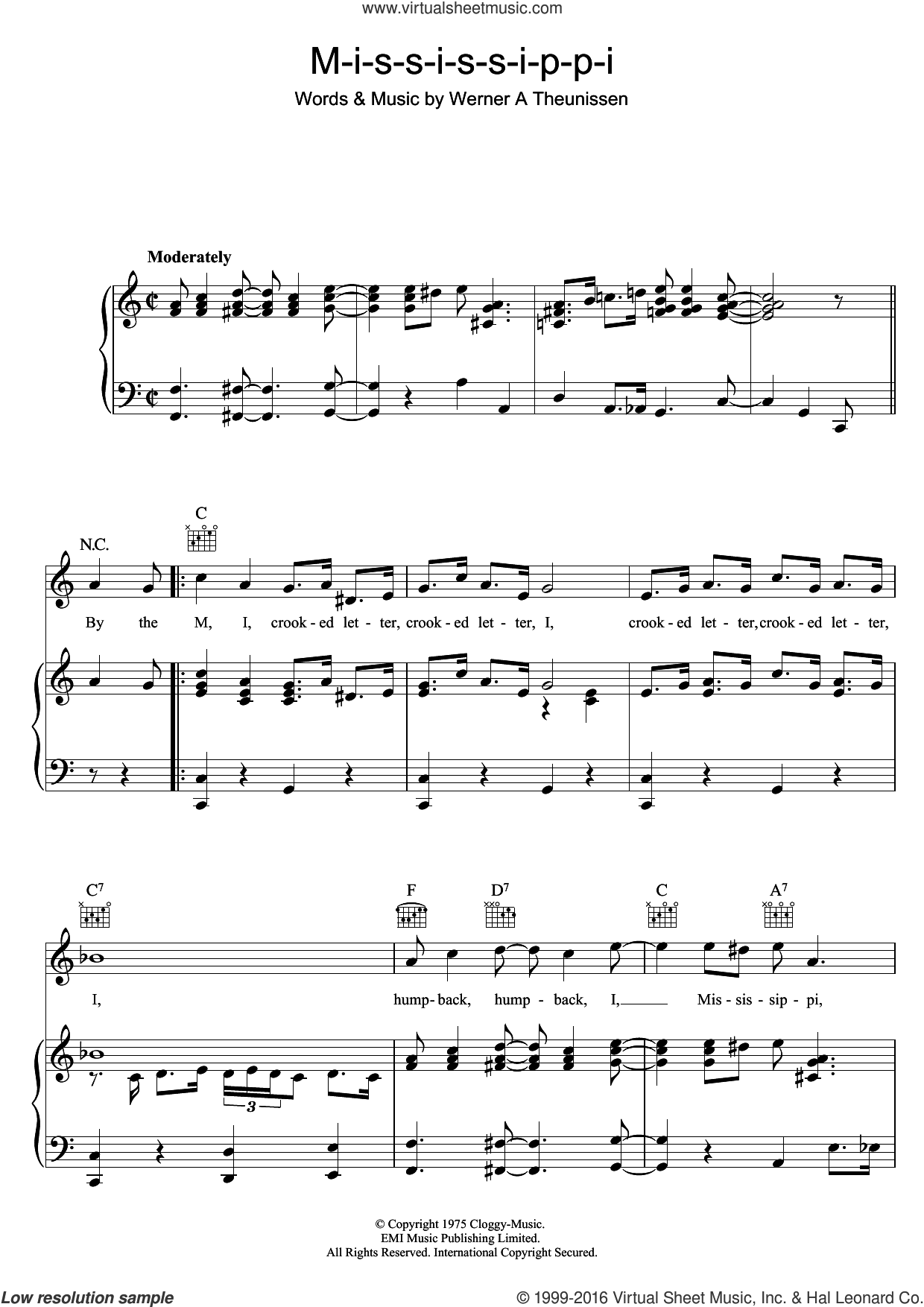 Mississippi sheet music for voice, piano or guitar by Ella Fitzgerald and Werner A Theunissen, intermediate skill level