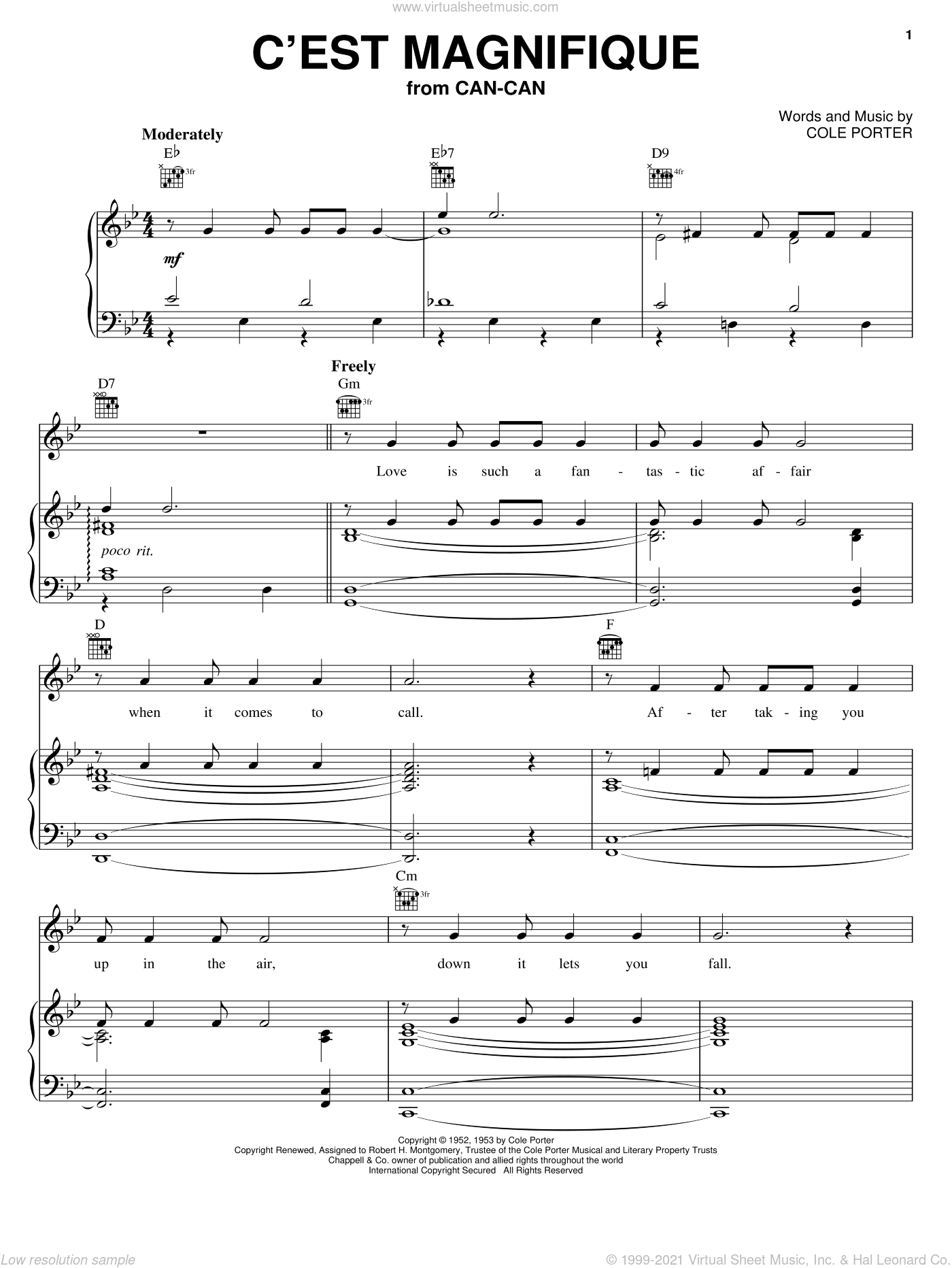 C'est Magnifique sheet music for voice, piano or guitar by Cole Porter, intermediate skill level