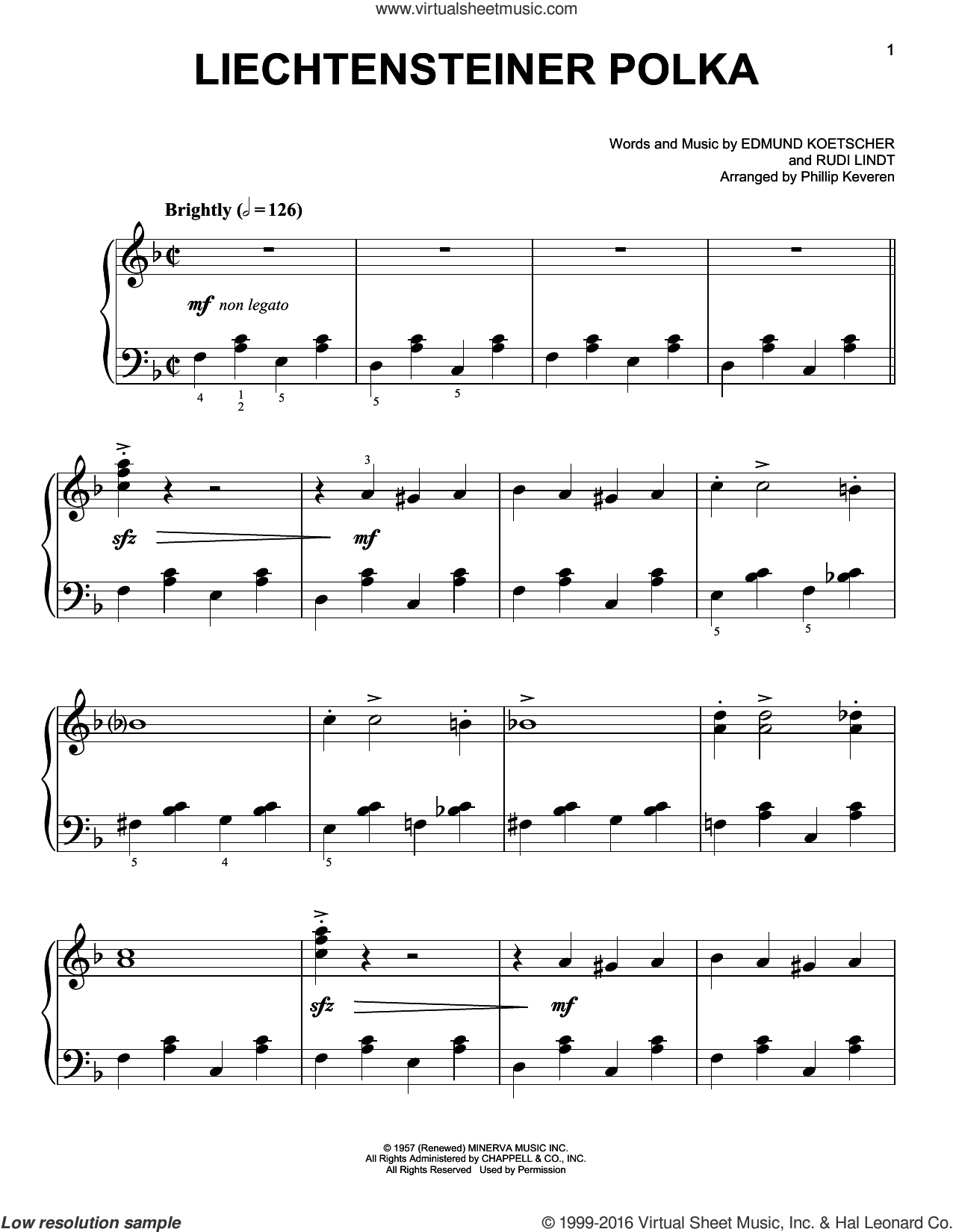 Liechtensteiner Polka sheet music for piano solo by Rudi Lindt, Phillip Keveren and Miscellaneous. Score Image Preview.