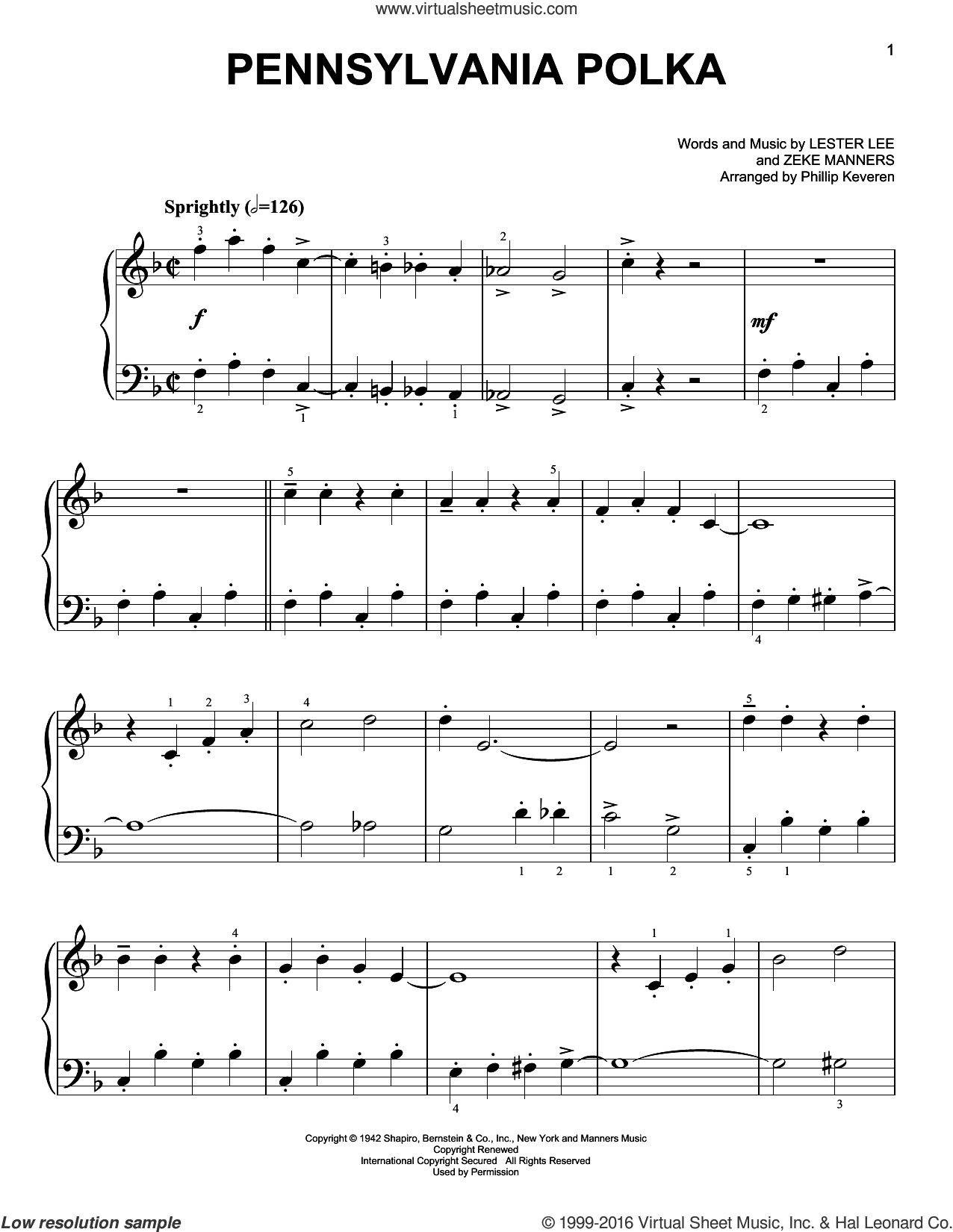 Pennsylvania Polka sheet music for piano solo by Phillip Keveren, Lester Lee and Zeke Manners, easy skill level