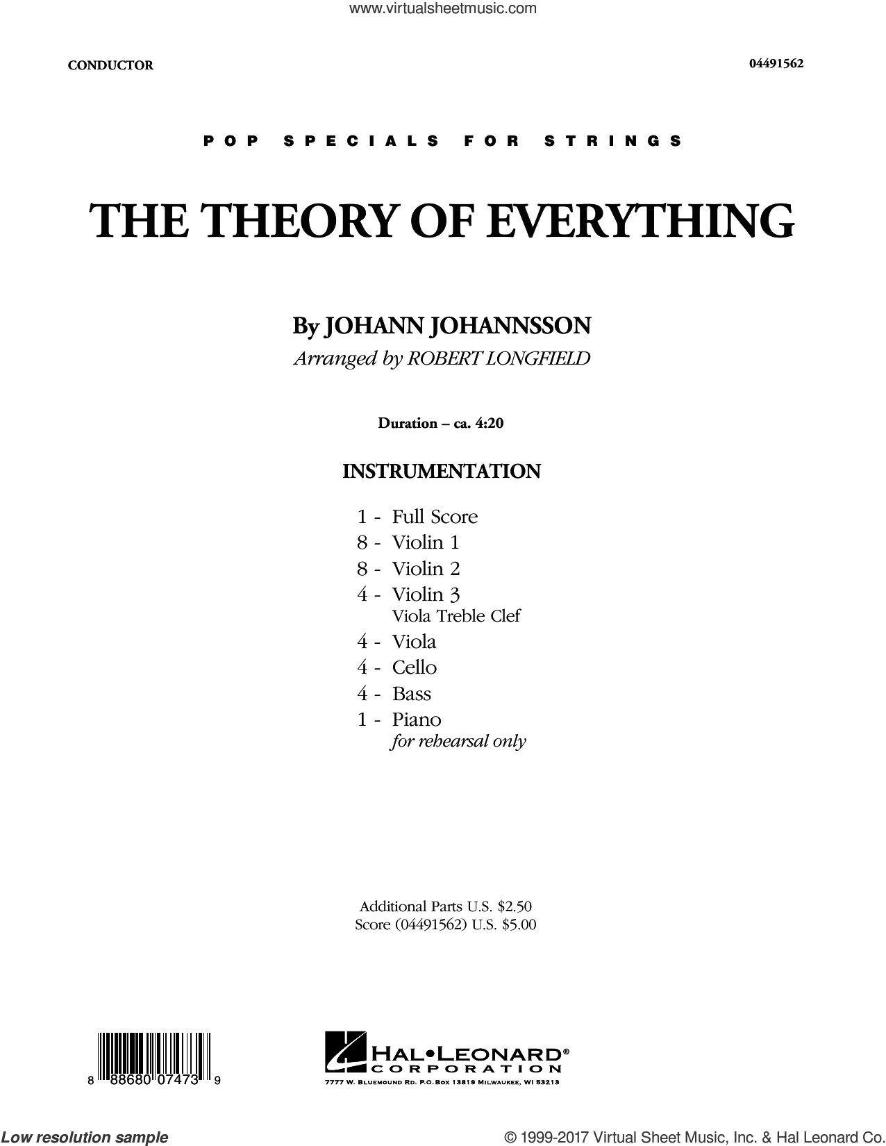The Theory of Everything (COMPLETE) sheet music for orchestra by Robert Longfield and Johann Johannsson, classical score, intermediate