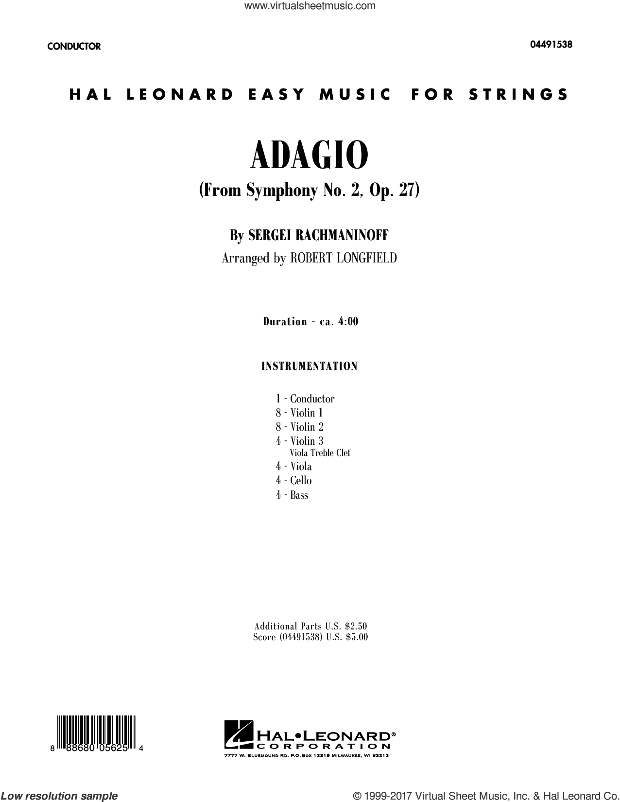 Adagio from Symphony No. 2 (COMPLETE) sheet music for orchestra by Robert Longfield and Serjeij Rachmaninoff, classical score, intermediate. Score Image Preview.