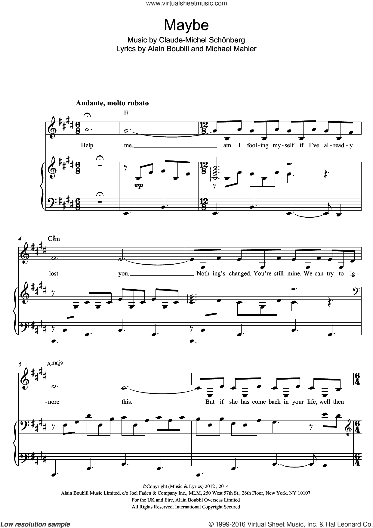 Maybe (from Miss Saigon) sheet music for voice and piano by Boublil and Schonberg, Claude-Michel Schönberg, Claude-Michel Schonberg, Alain Boublil and Michael Mahler, intermediate skill level