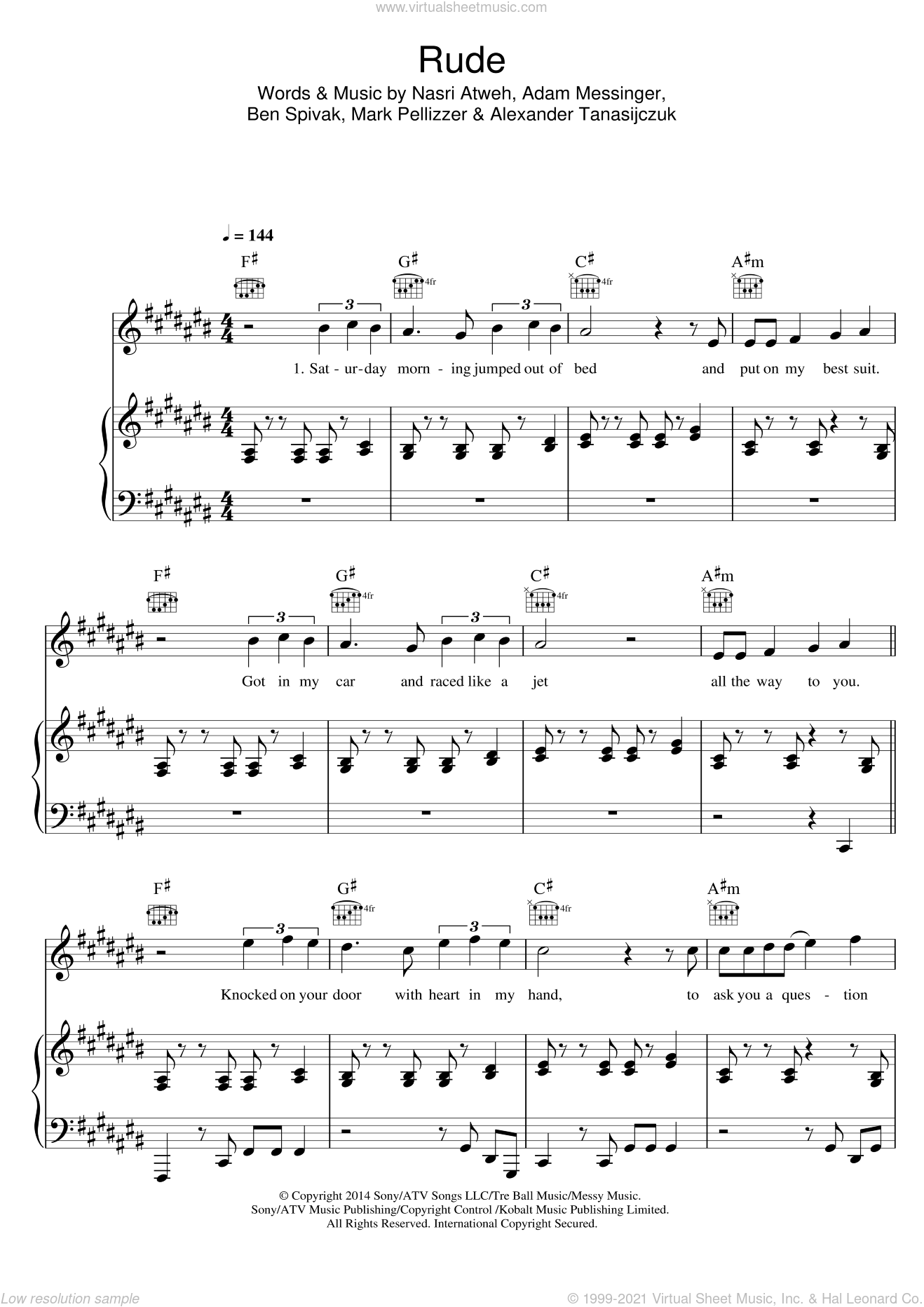 Rude sheet music for voice, piano or guitar by Adam Messinger and Nasri Atweh. Score Image Preview.