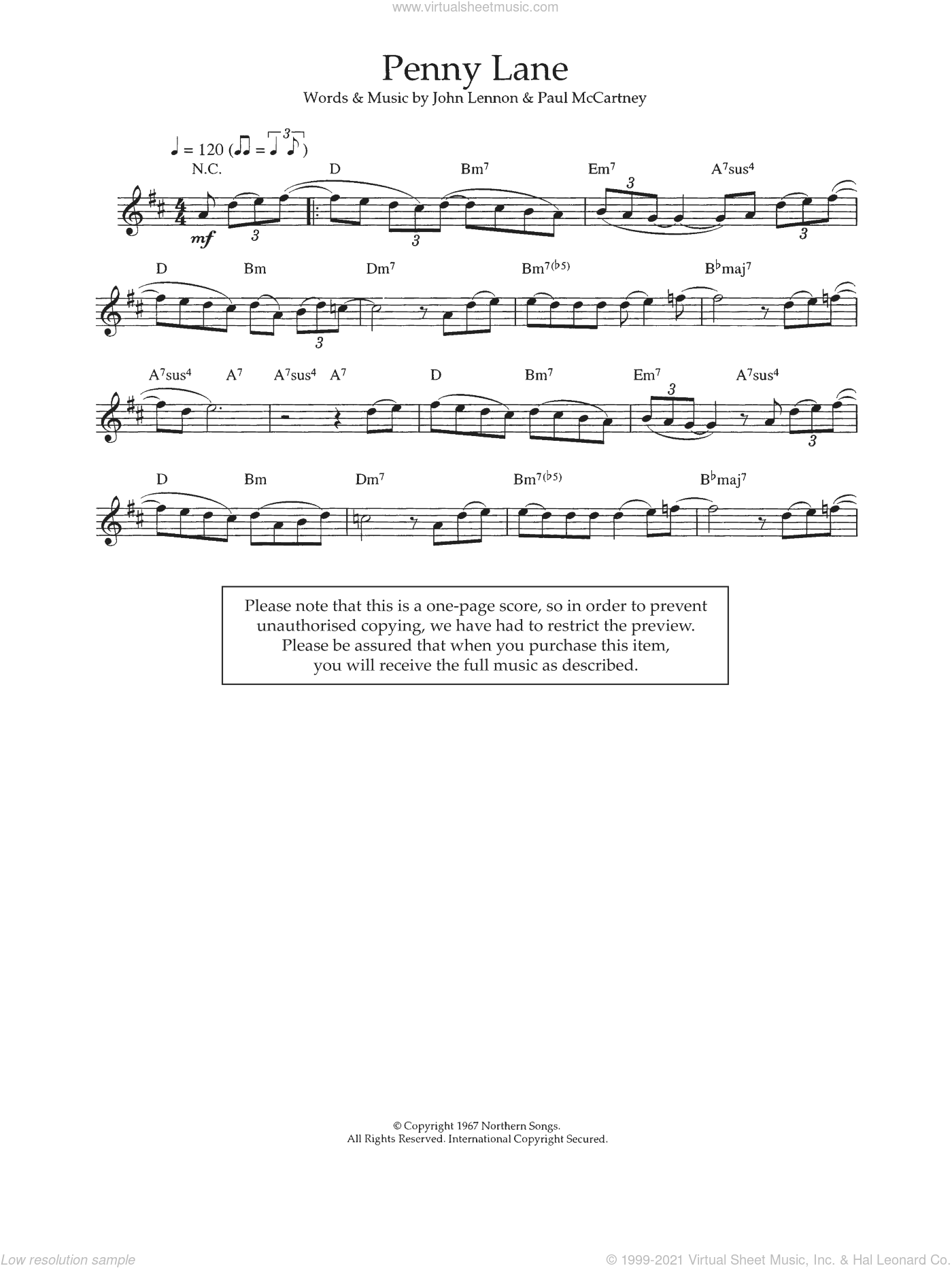 Penny Lane sheet music for voice and other instruments (fake book) by John Lennon, The Beatles and Paul McCartney. Score Image Preview.