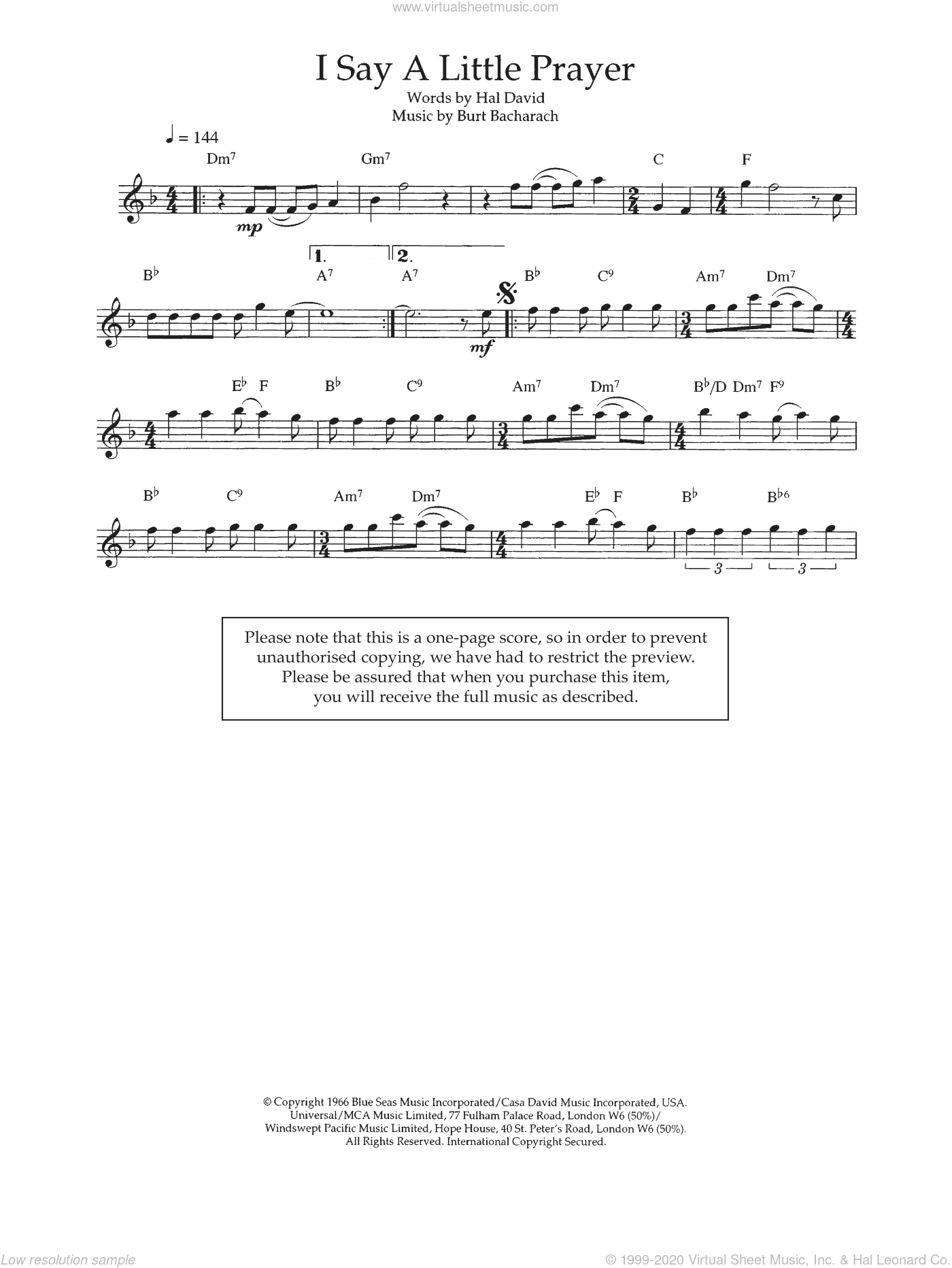 I Say A Little Prayer sheet music for flute solo by Burt Bacharach, Aretha Franklin and Hal David. Score Image Preview.