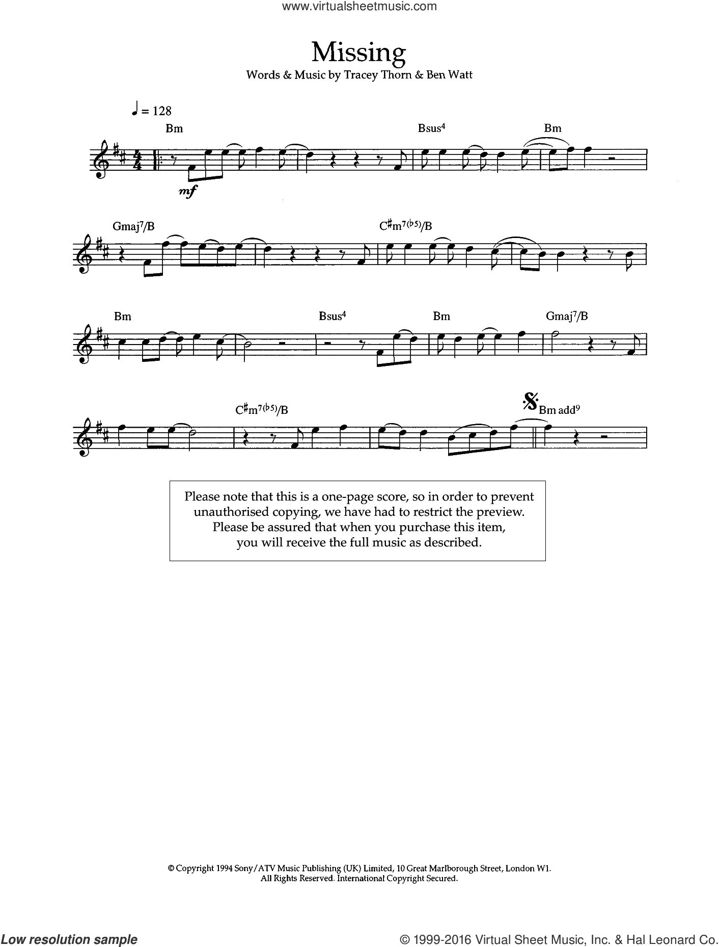 Missing sheet music for voice and other instruments (fake book) by Ben Watt, Everything But The Girl and Tracey Thorn. Score Image Preview.