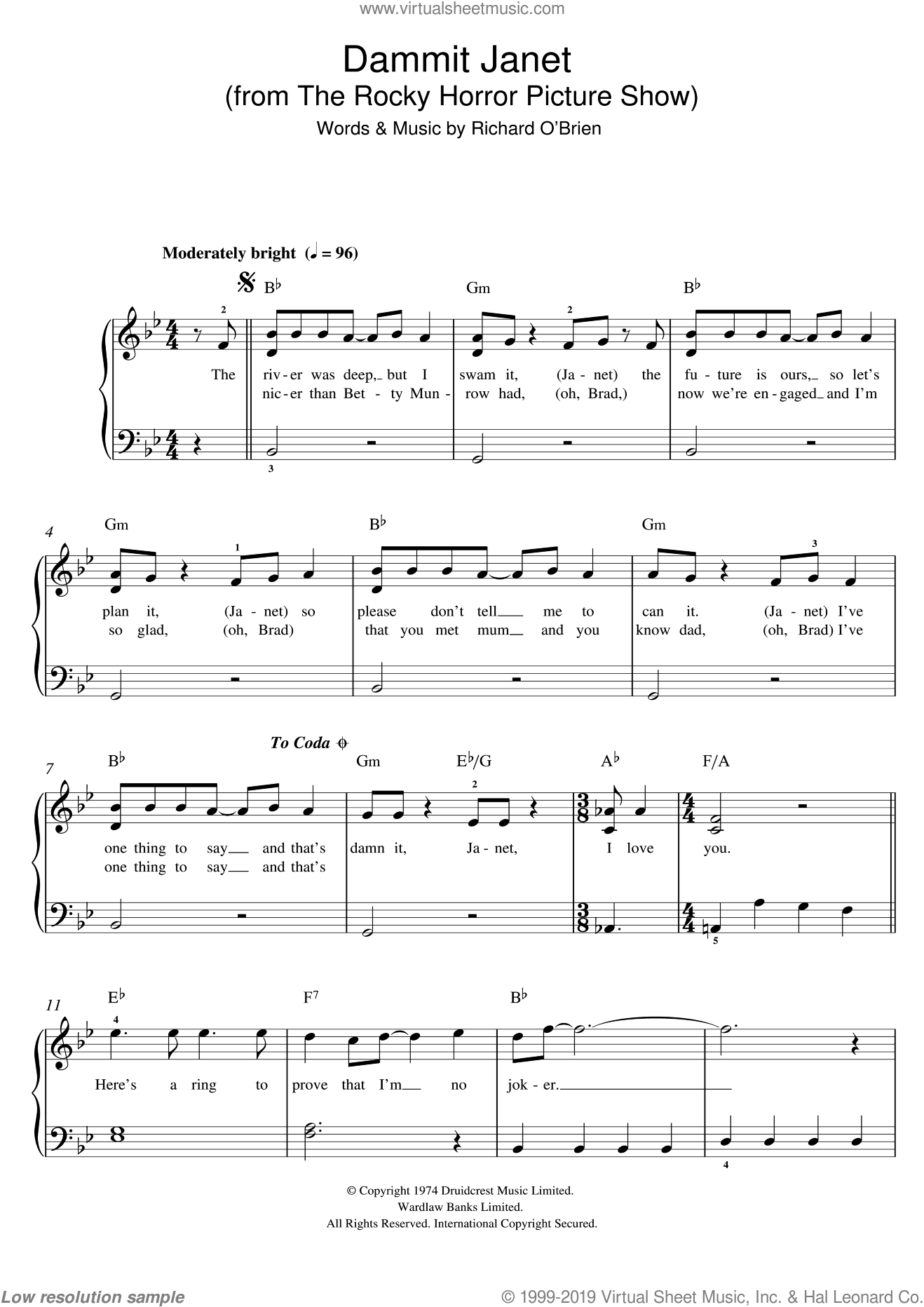 Dammit Janet (from The Rocky Horror Picture Show) sheet music for piano solo by Richard O'Brien. Score Image Preview.