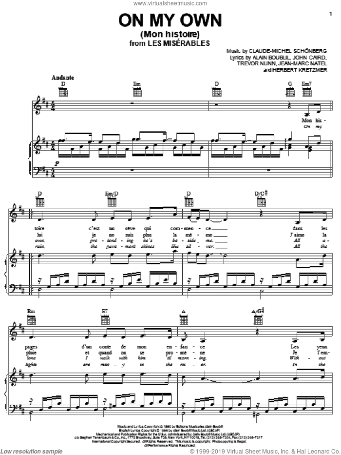 On My Own (Mon Histoire) sheet music for voice, piano or guitar by Alain Boublil, Les Miserables (Musical), Claude-Michel Schonberg, Herbert Kretzmer, Jean-Marc Natel, John Caird and Trevor Nunn, intermediate skill level