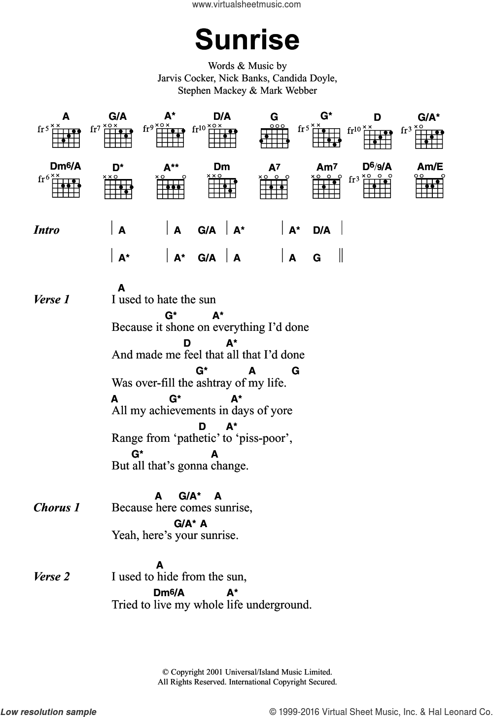 Sunrise sheet music for guitar (chords) by Pulp and Jarvis Cocker. Score Image Preview.