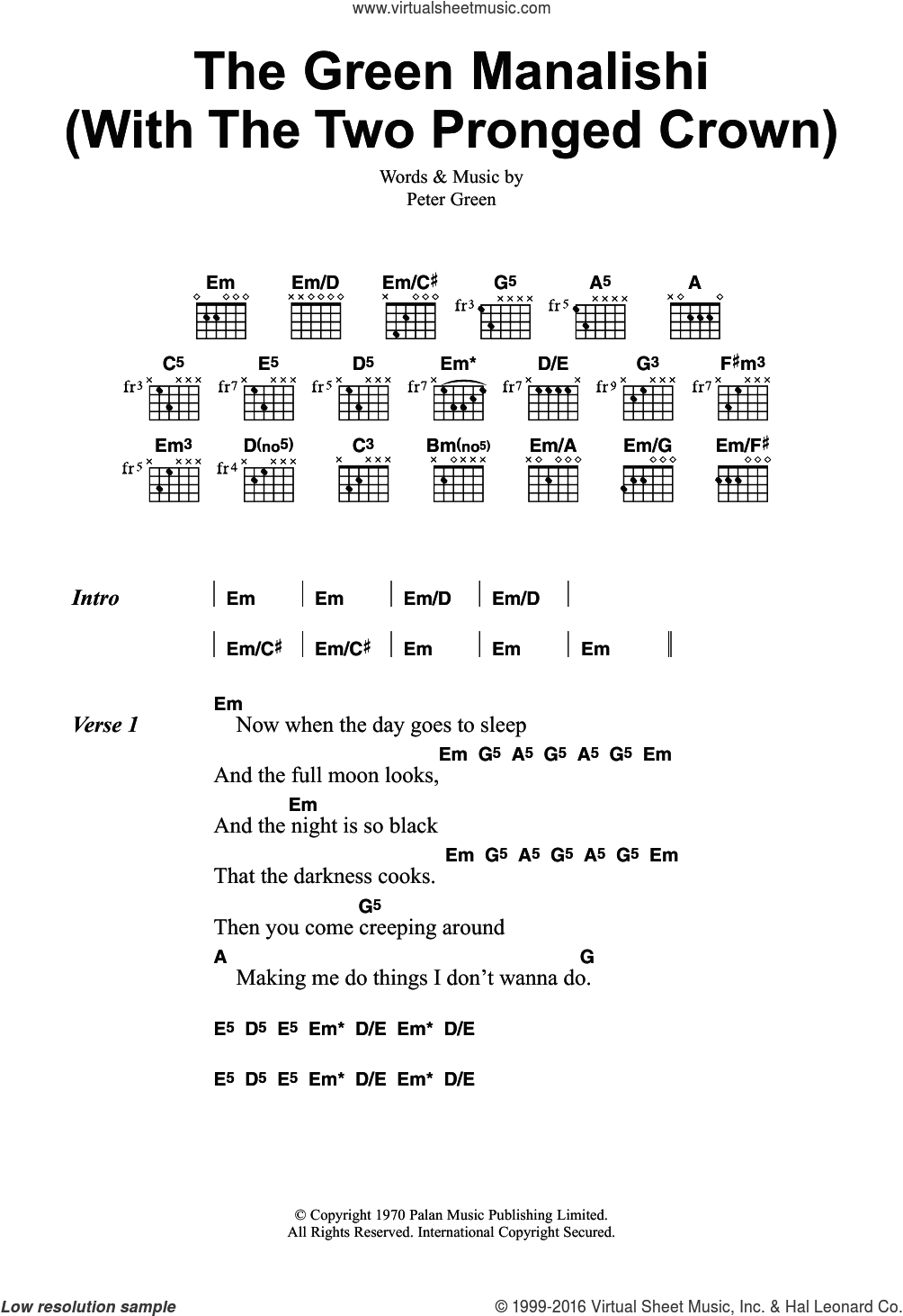 The Green Manalishi (With The Two Pronged Crown) sheet music for guitar (chords) by Peter Green and Fleetwood Mac. Score Image Preview.