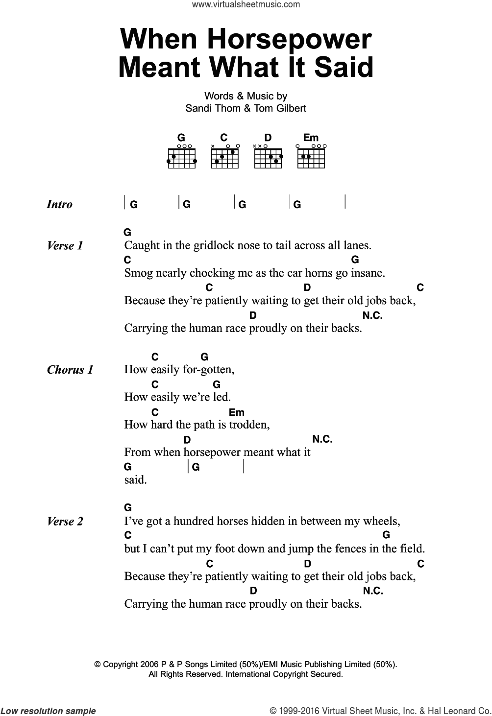 When Horsepower Meant What It Said sheet music for guitar (chords) by Sandi Thom and Tom Gilbert, intermediate skill level