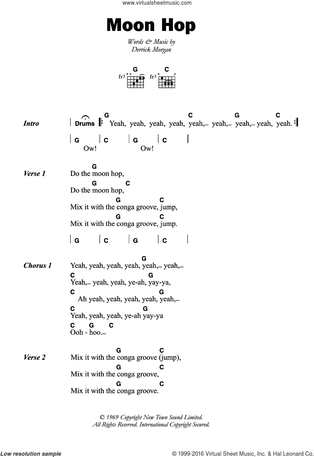 Moon Hop sheet music for guitar (chords) by Derrick Morgan, intermediate. Score Image Preview.