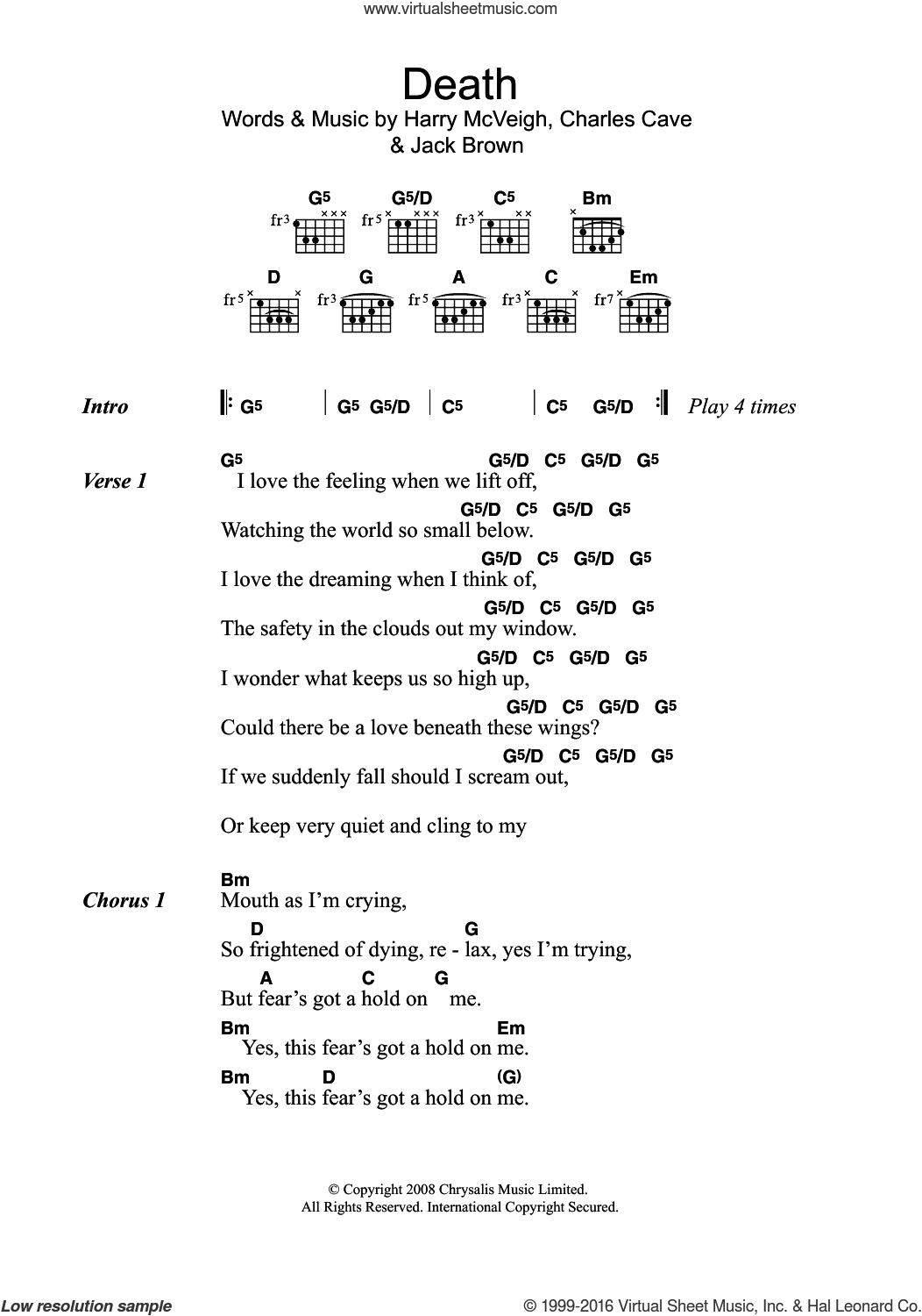 Death sheet music for guitar (chords) by Charles Cave and Jack Brown. Score Image Preview.