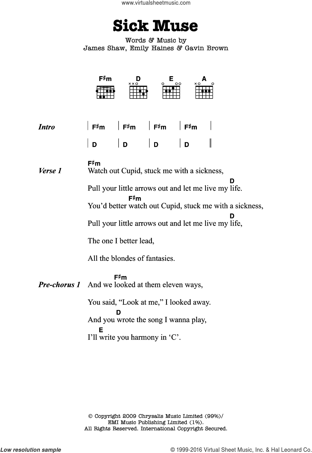 Sick Muse sheet music for guitar (chords) by Emily Haines, Metric, Gavin Brown and James Shaw. Score Image Preview.