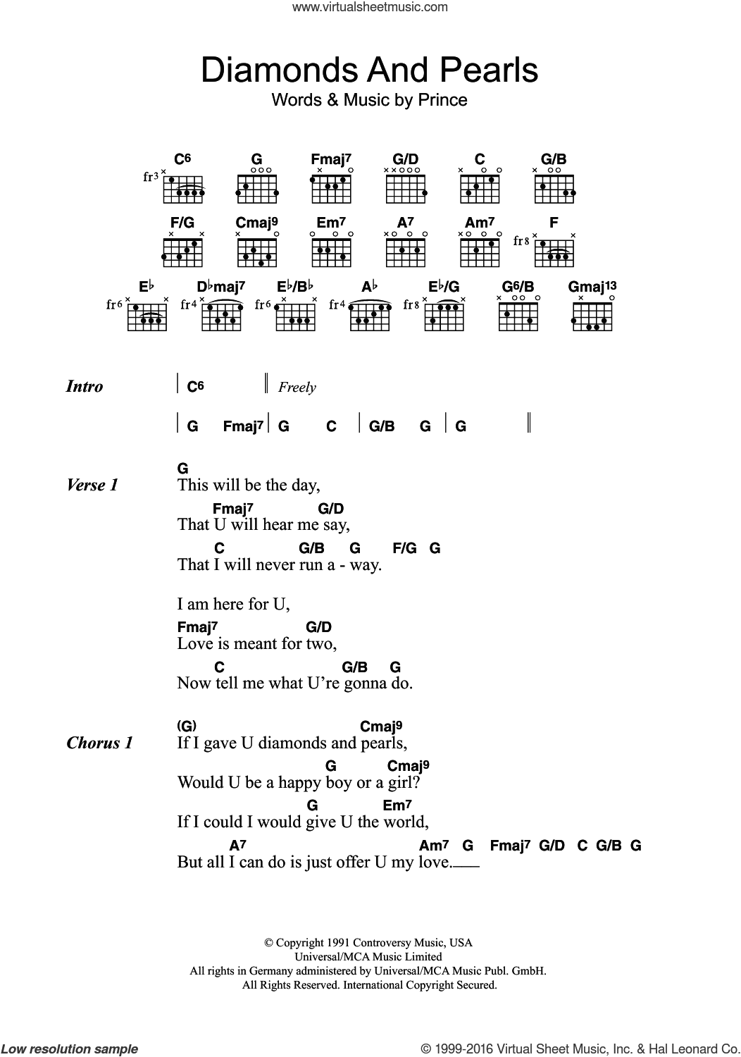 Prince Diamonds And Pearls Sheet Music For Guitar Chords