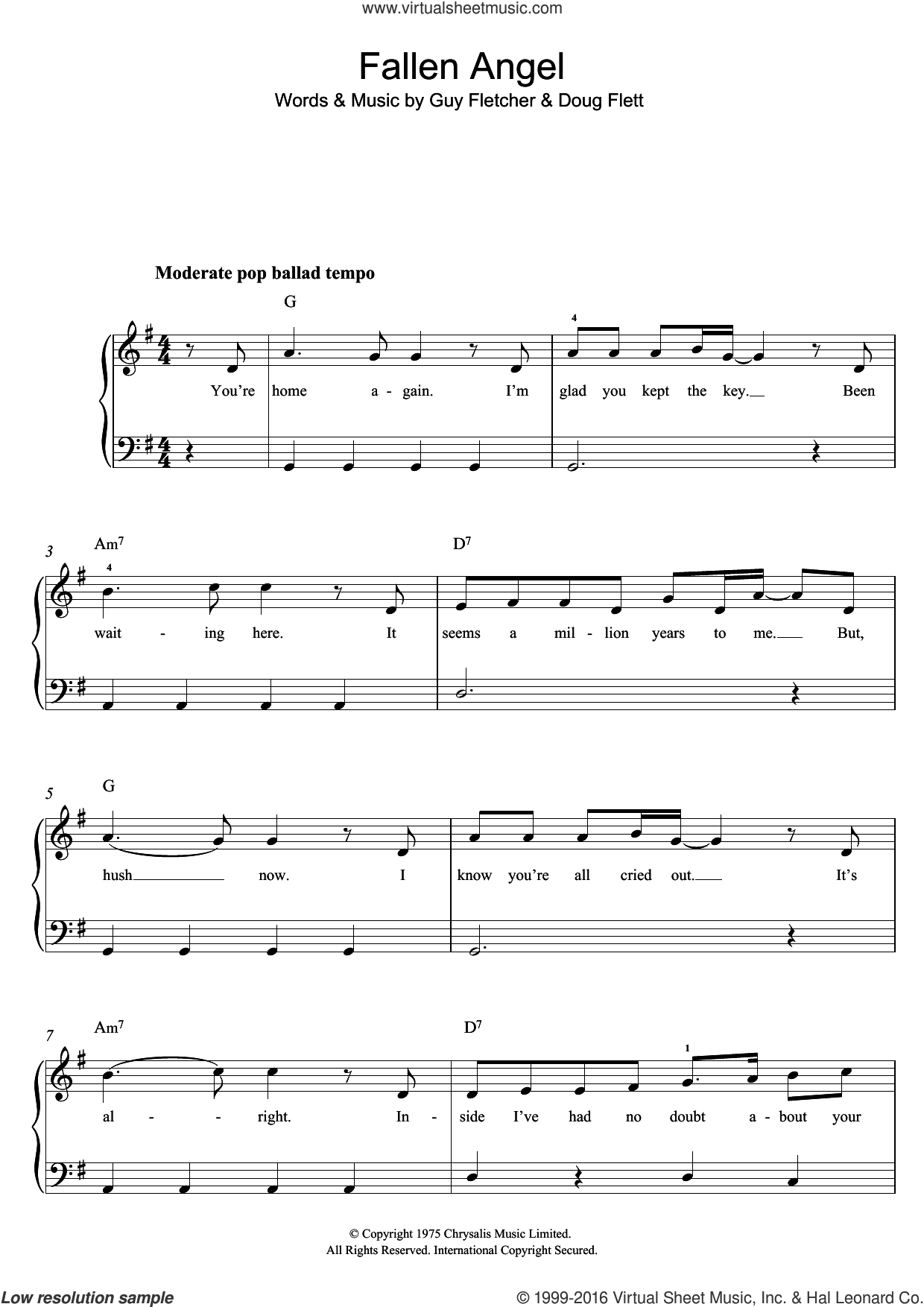 Fallen Angel sheet music for piano solo by Frankie Valli, Doug Flett and Guy Fletcher, easy