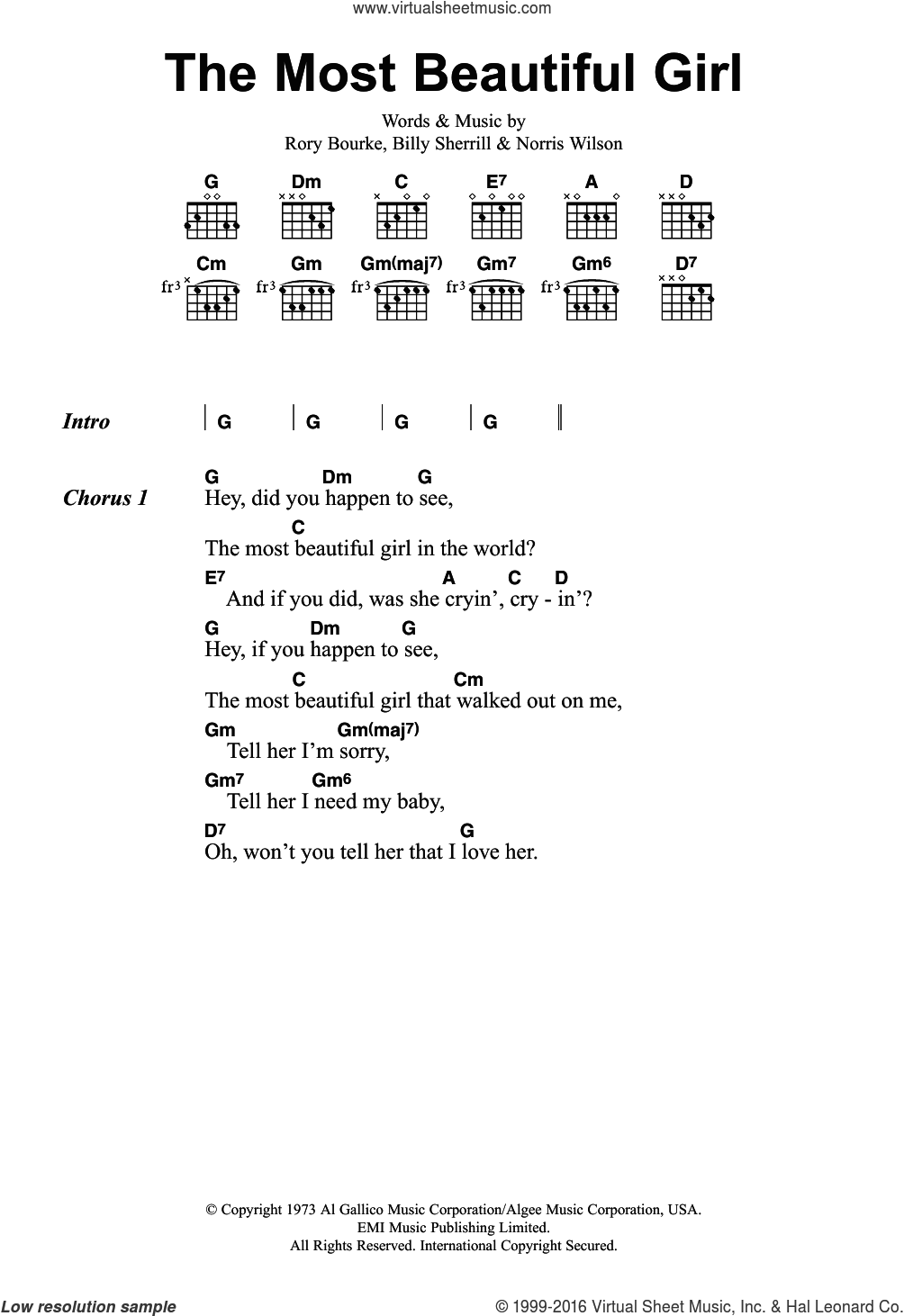 The Most Beautiful Girl sheet music for guitar (chords) by Charlie Rich, Billy Sherrill, Norris Wilson and Rory Bourke. Score Image Preview.