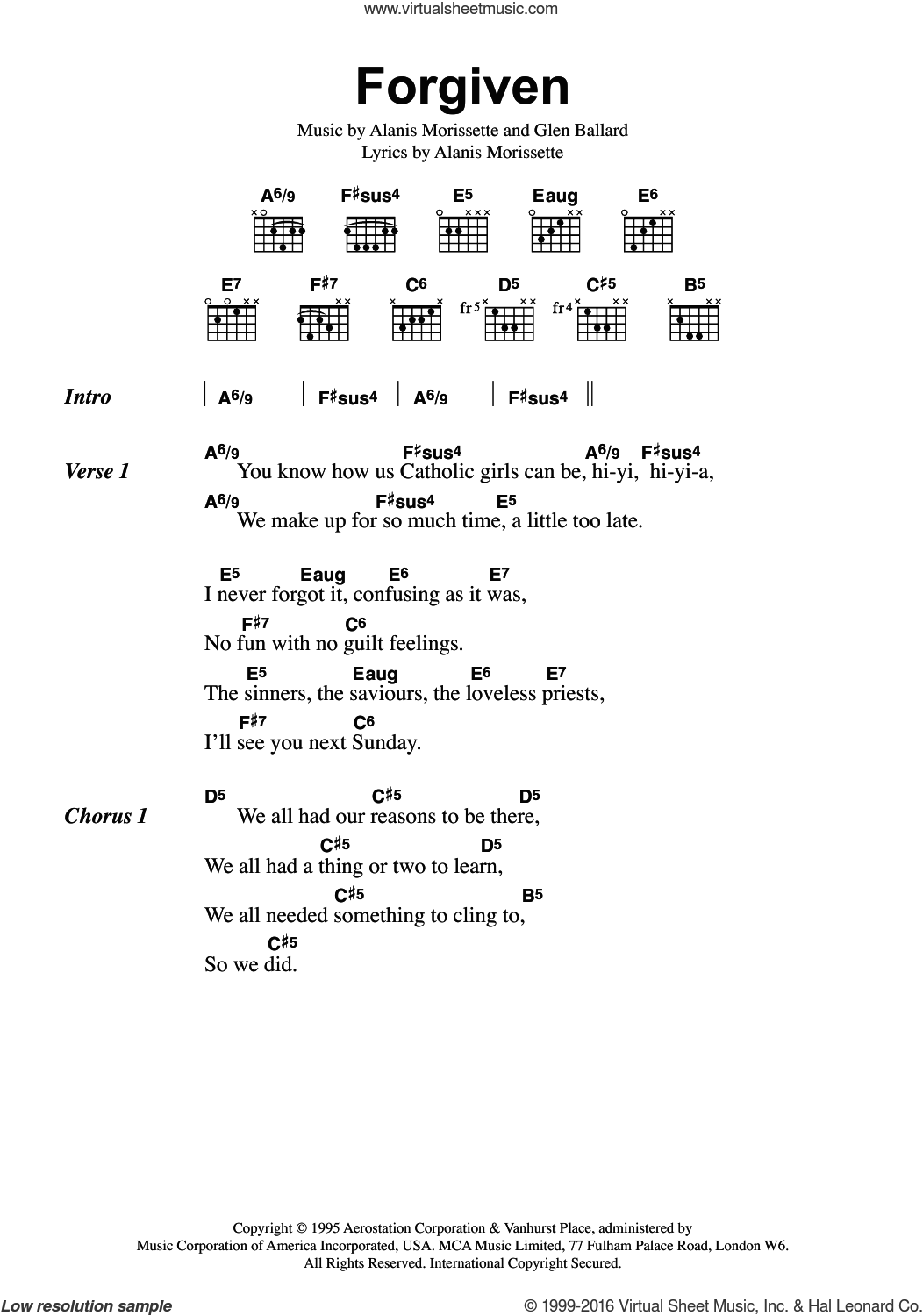 Forgiven sheet music for guitar (chords) by Alanis Morissette and Glen Ballard, intermediate skill level