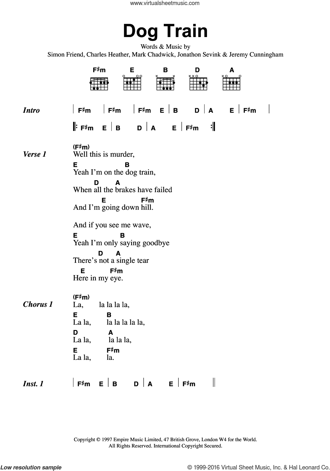 Dog Train sheet music for guitar (chords) by The Levellers, Charles Heather, Jeremy Cunningham, Jonathan Sevink, Mark Chadwick and Simon Friend, intermediate