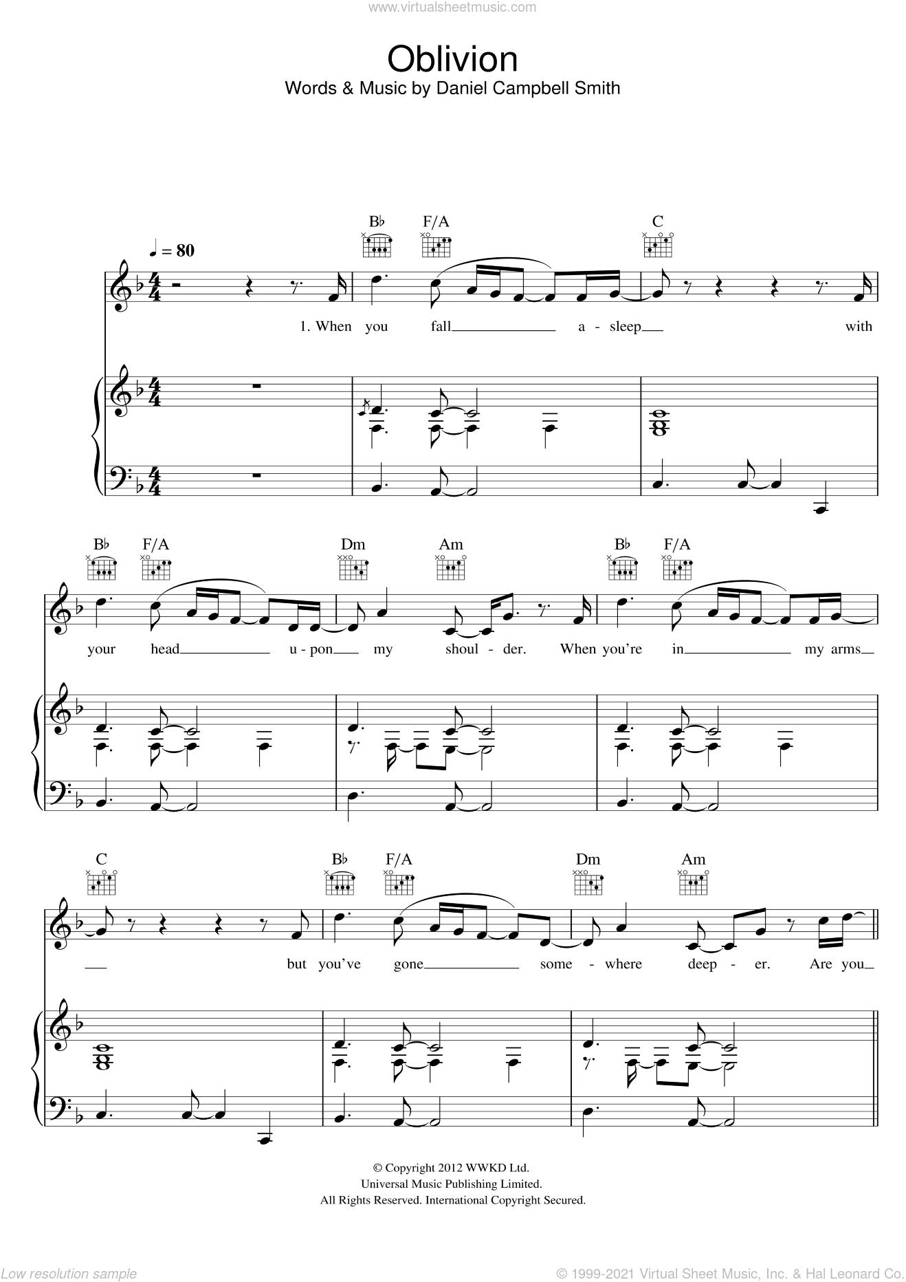 Oblivion sheet music for voice, piano or guitar by Bastille, intermediate. Score Image Preview.