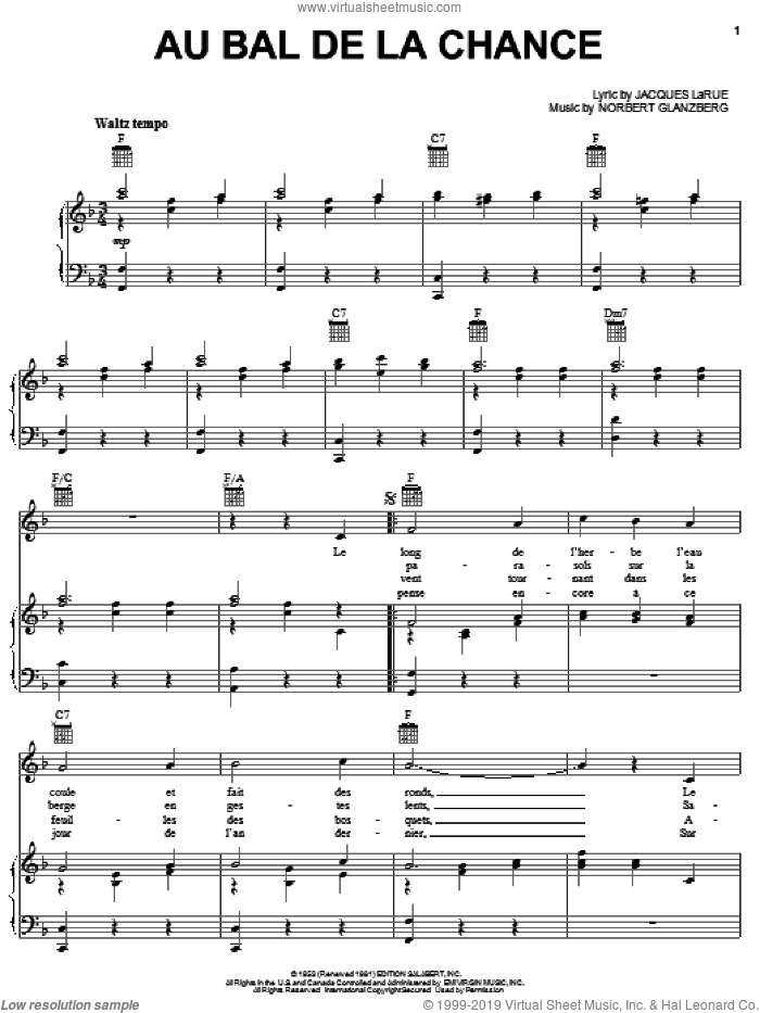 Au Bal De La Chance sheet music for voice, piano or guitar by Edith Piaf, Jacques Larue and Norbert Glanzberg, intermediate