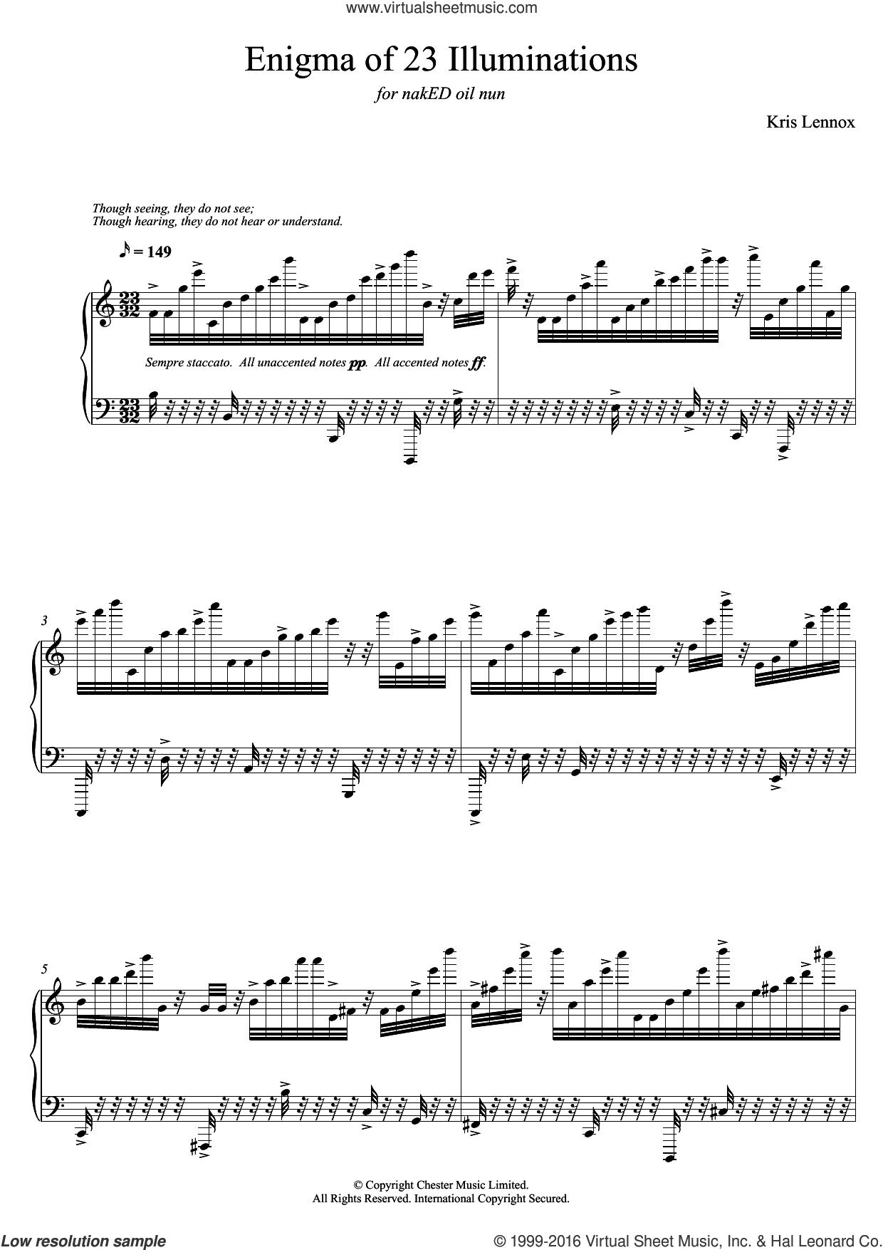 Enigma of 23 Illuminations sheet music for piano solo by Kris Lennox, classical score, intermediate skill level