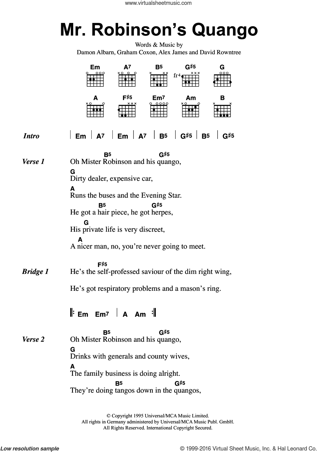 Mr. Robinson's Quango sheet music for guitar (chords) by Blur, Alex James, Damon Albarn, David Rowntree and Graham Coxon, intermediate