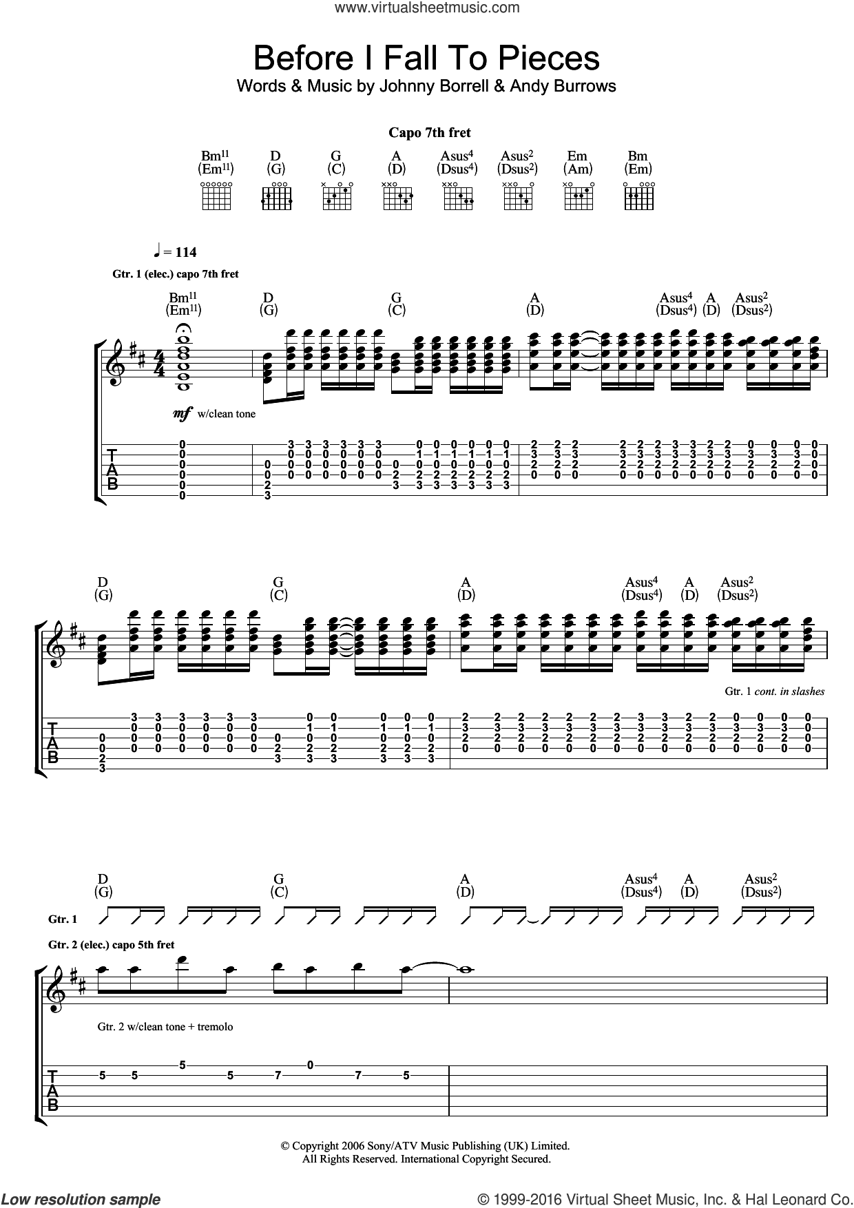 Before I Fall To Pieces sheet music for guitar (tablature) by Razorlight, Andy Burrows and Johnny Borrell, intermediate skill level