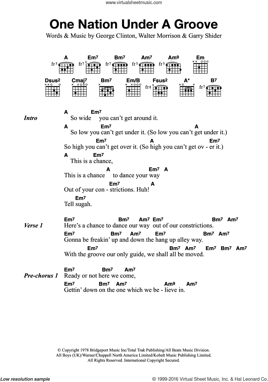 Funkadelic One Nation Under A Groove Sheet Music For Guitar Chords
