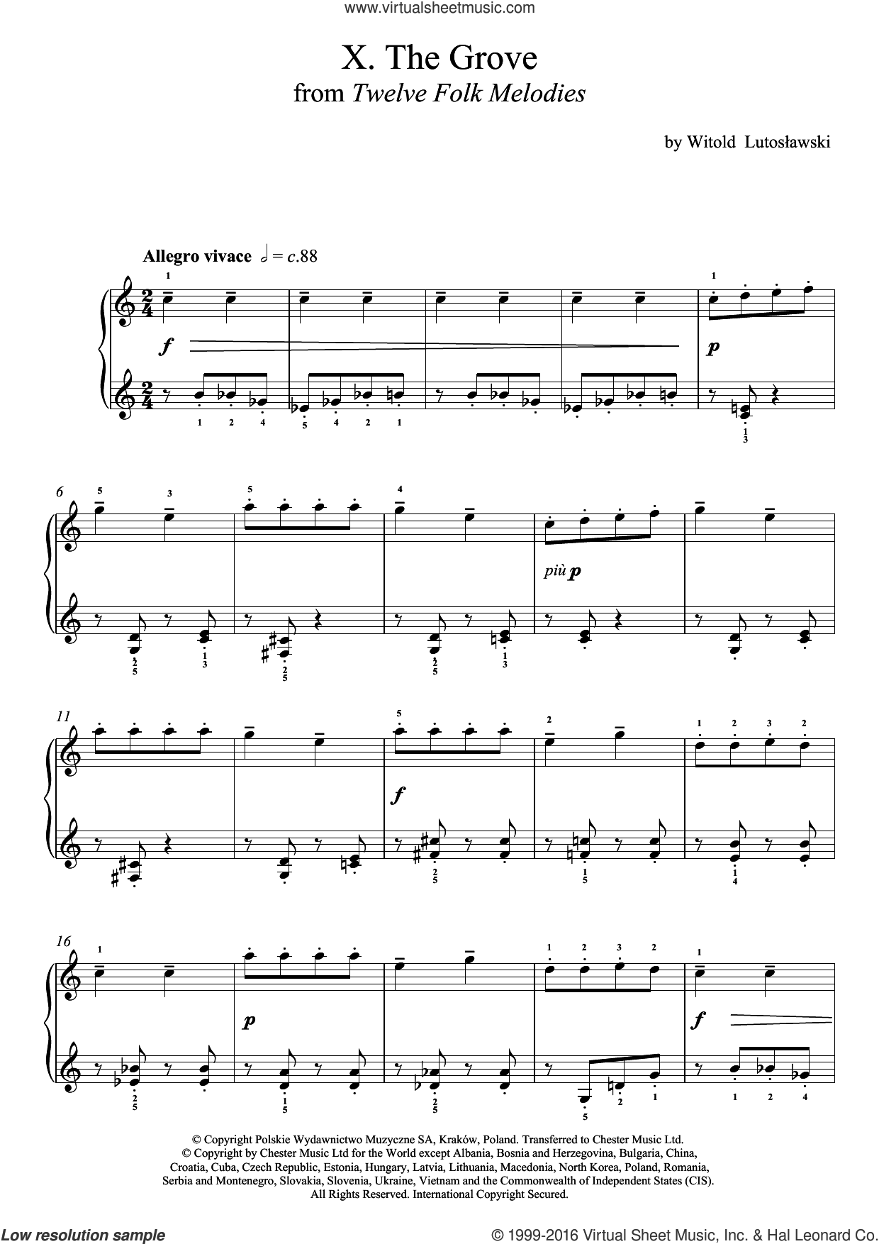 The Grove sheet music for piano solo by Witold Lutoslawski, classical score, intermediate skill level
