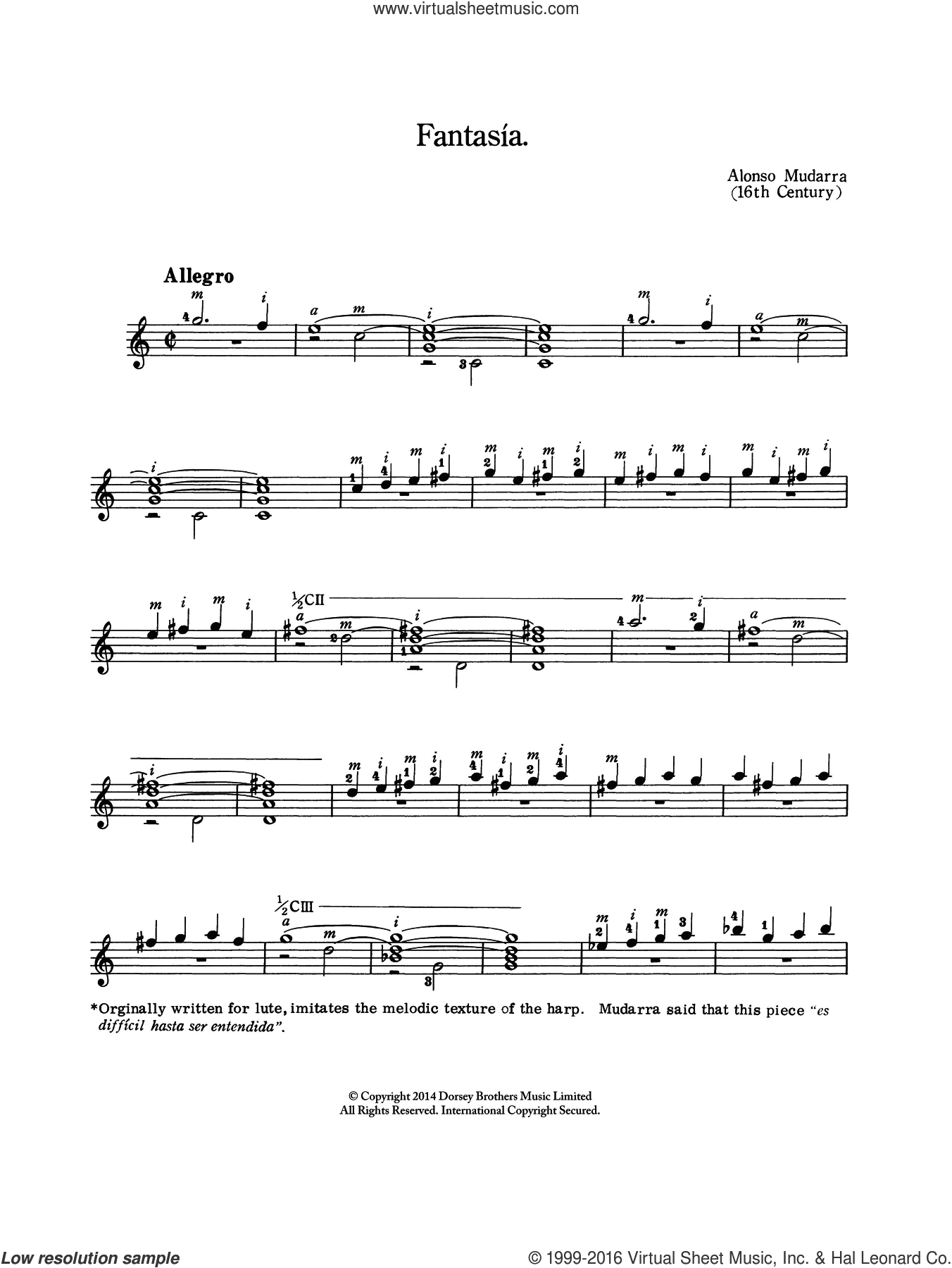 Fantasia sheet music for guitar solo (chords) by Alonso de Mudurra and Alonso De Mudarra. Score Image Preview.