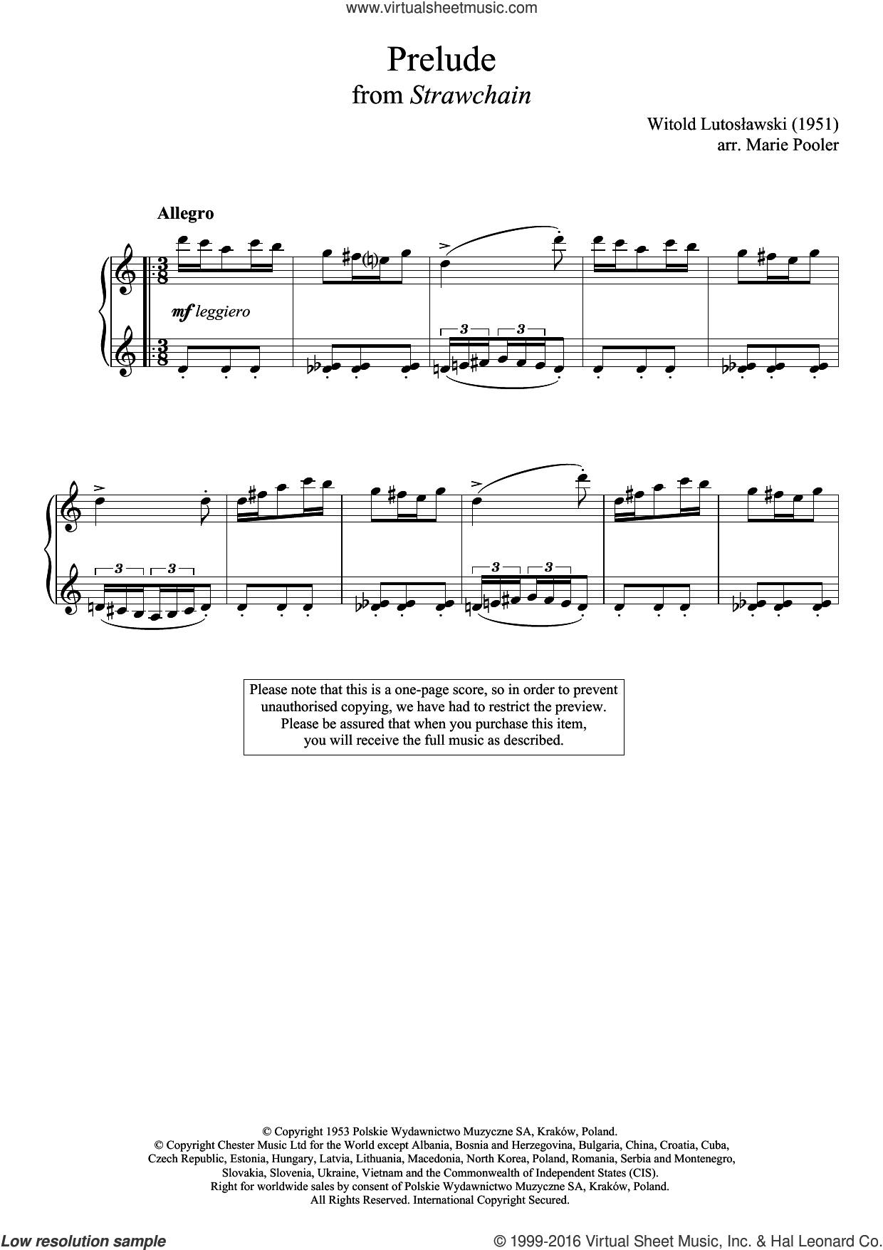 Prelude (from 'Strawchain') sheet music for piano solo by Witold Lutoslawski, classical score, intermediate skill level