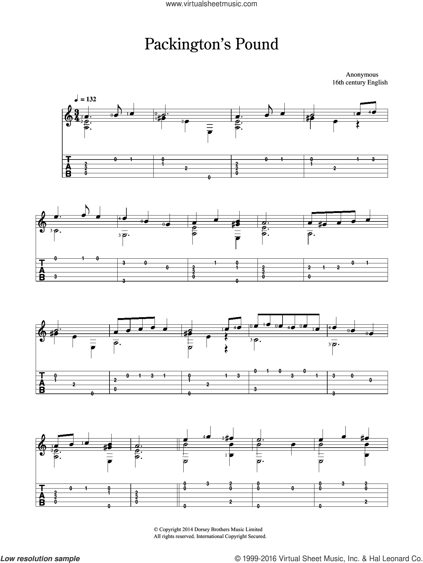 Packington's Pound sheet music for guitar solo (chords). Score Image Preview.