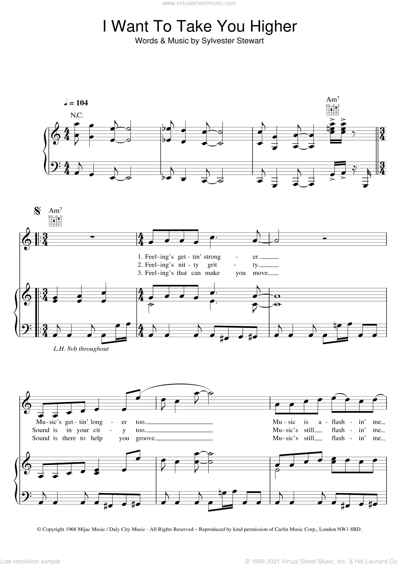 I Want To Take You Higher sheet music for voice, piano or guitar by Sly And The Family Stone, The Commitments and Sylvester Stewart, intermediate