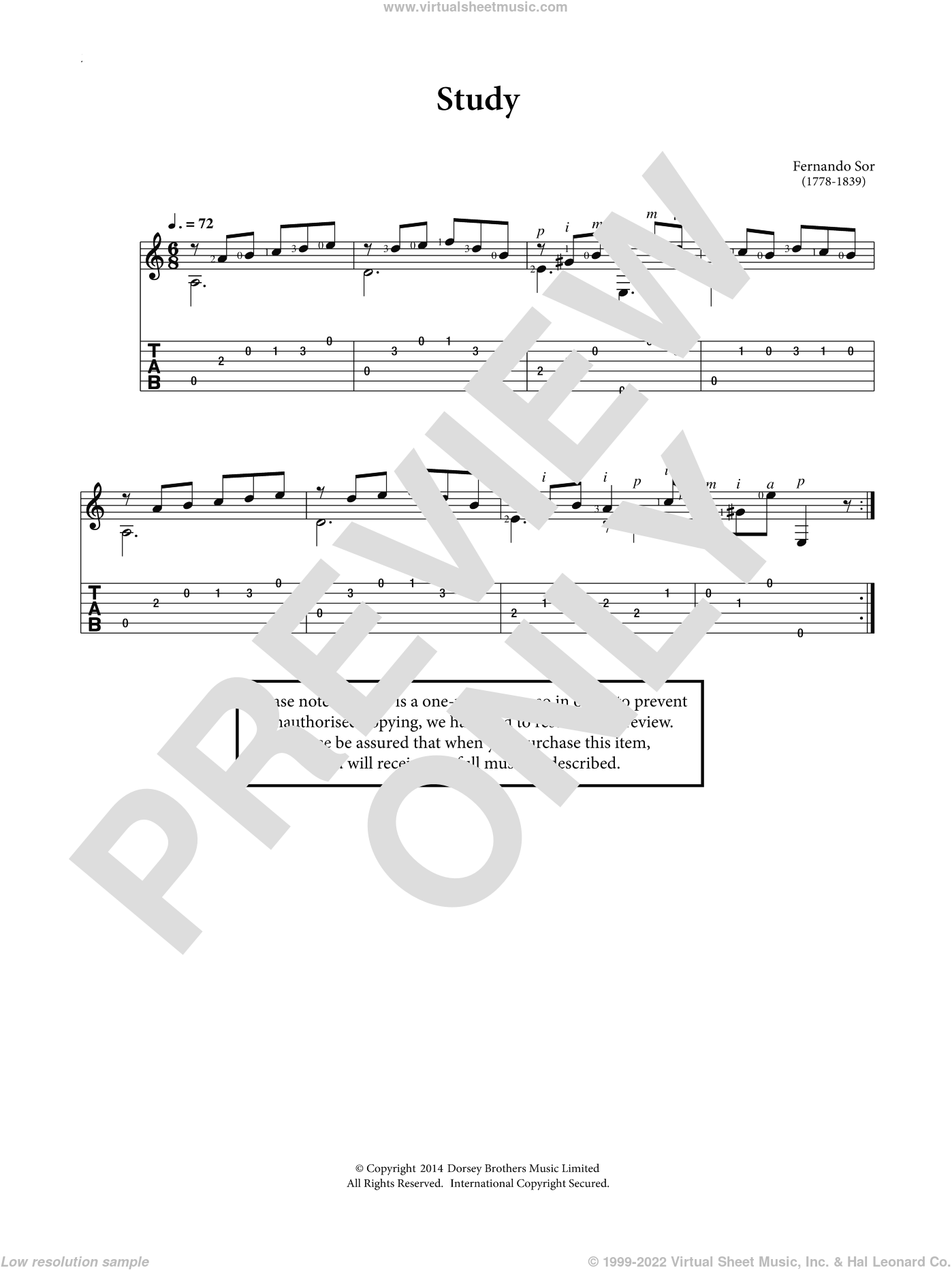 Study sheet music for guitar solo (chords) by Fernando Sor, classical score, easy guitar (chords). Score Image Preview.