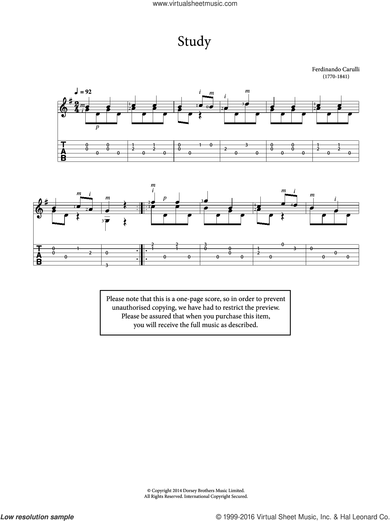 Study sheet music for guitar solo (chords) by Ferdinando Carulli and Fernando Carulli, classical score, easy guitar (chords)