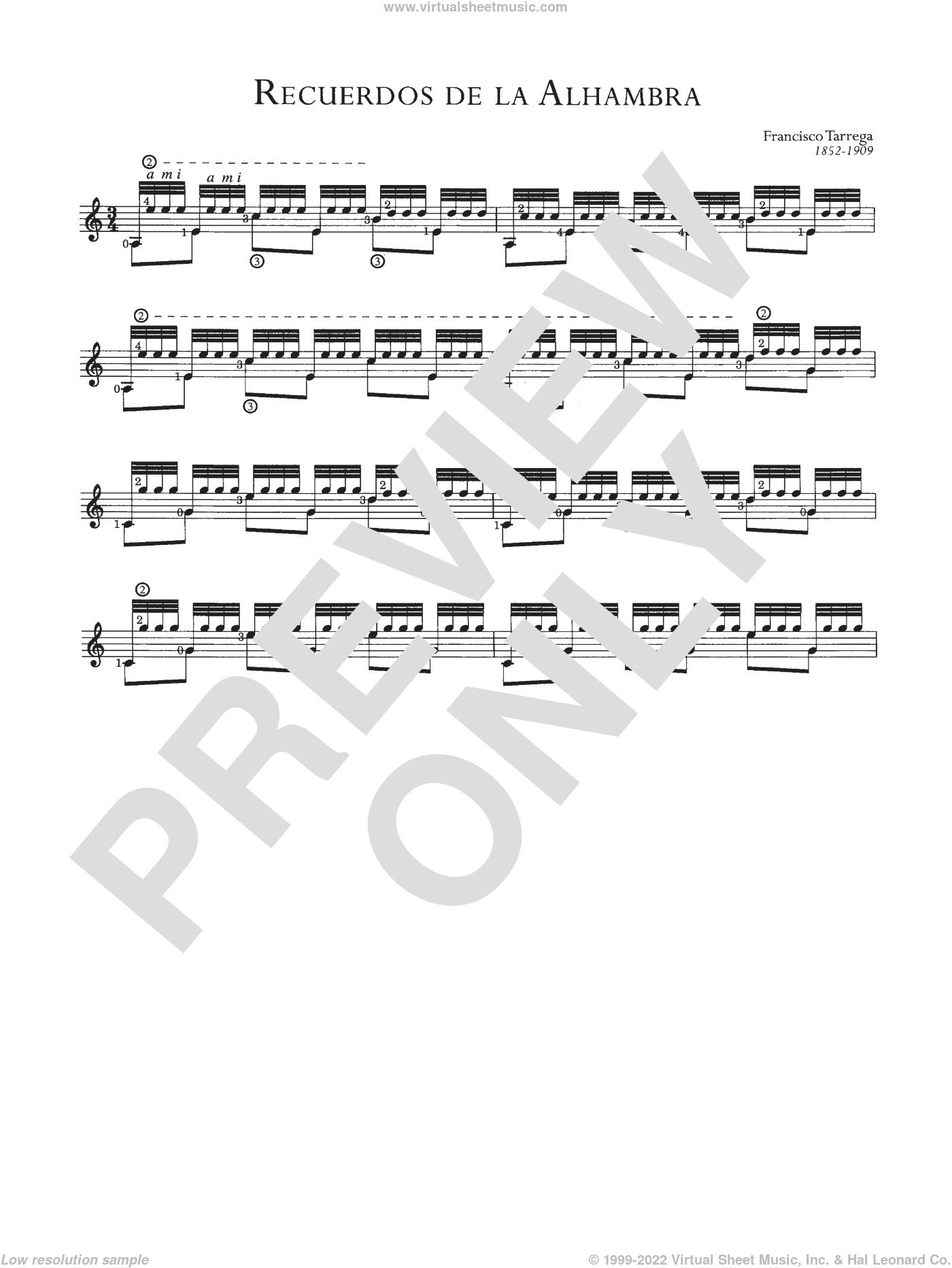 Recuerdos De La Alhambra sheet music for guitar solo (chords) by Francisco Tarrega and Francisco TA�A�rrega, classical score, easy guitar (chords). Score Image Preview.